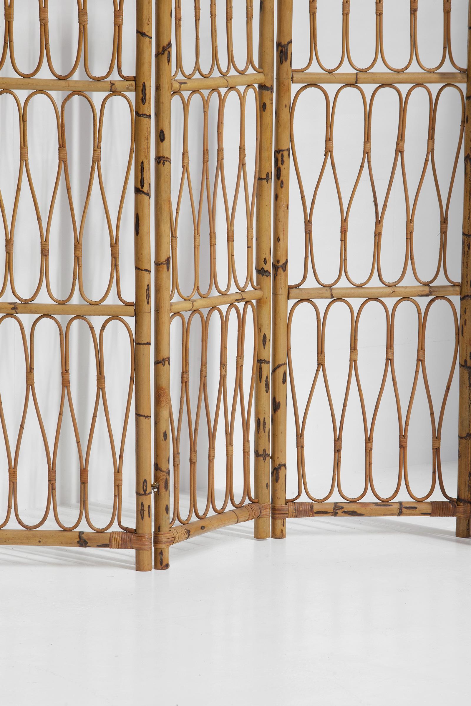 1950s Decorative Rattan Folding Screen