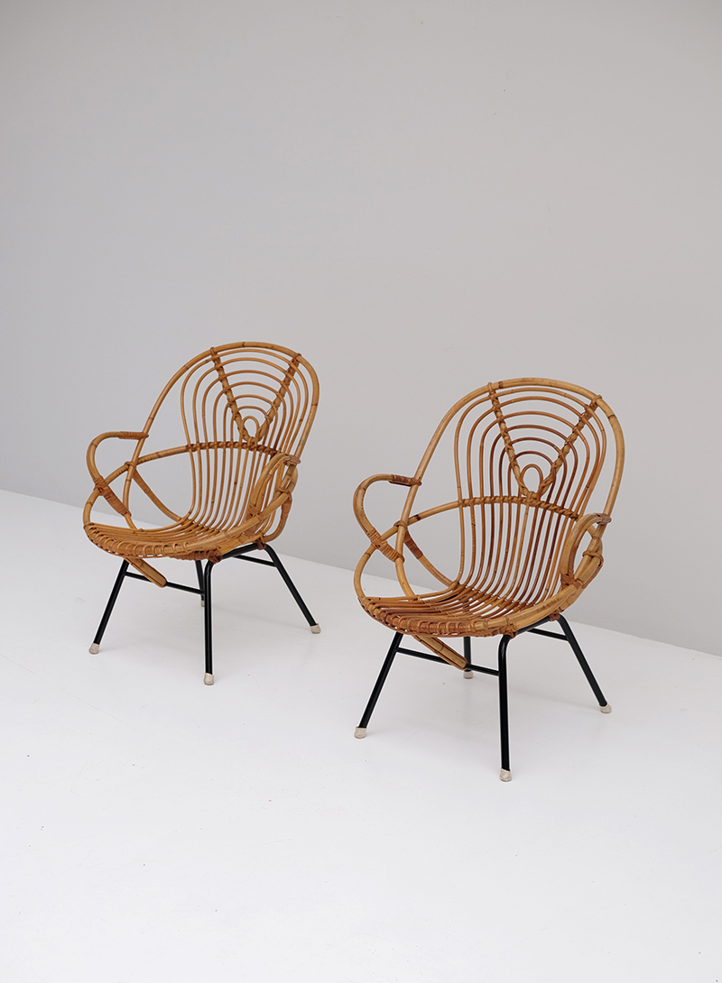 Rattan Side Chairs designed by Dirk van Sliedregt image 1