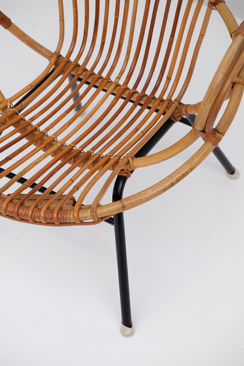 Rattan Side Chairs designed by Dirk van Sliedregt image 6