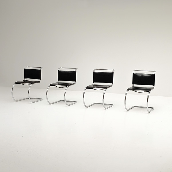 Chairs, Mies van der Rohe, Knoll, Leather, black, chrome