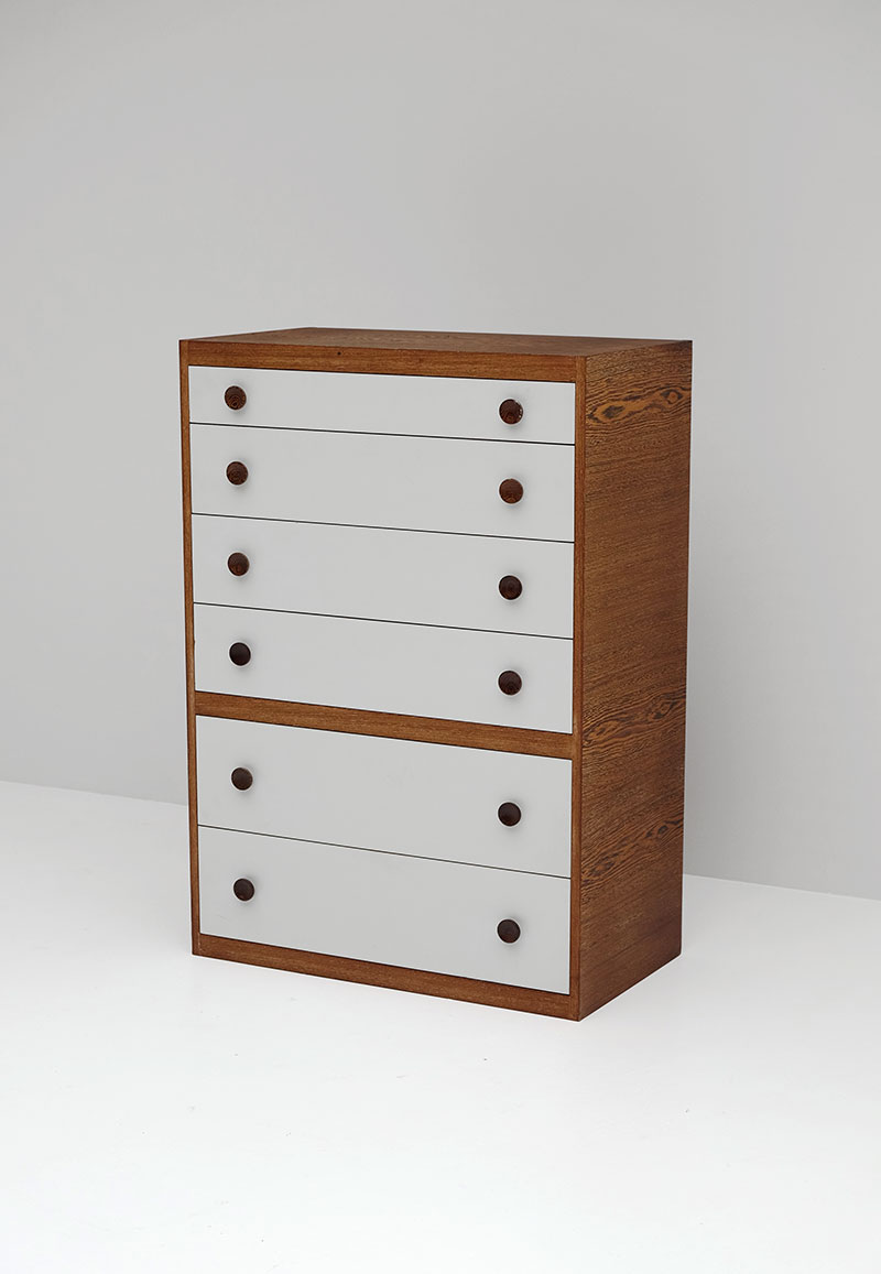 1970S WENGE CHEST WITH DRAWERS. image 1