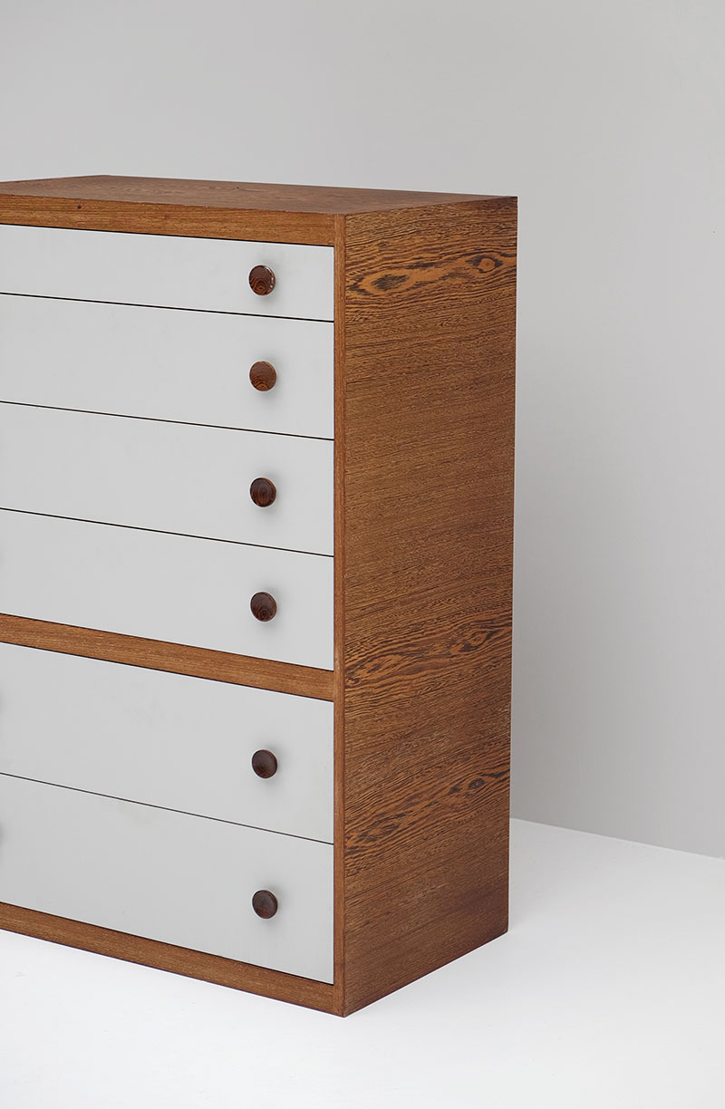 1970S WENGE CHEST WITH DRAWERS. image 2