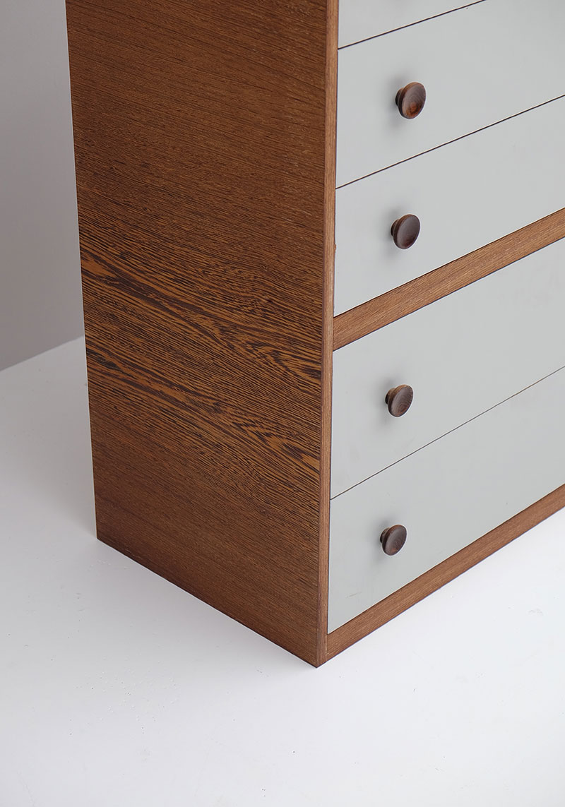 1970S WENGE CHEST WITH DRAWERS. image 6