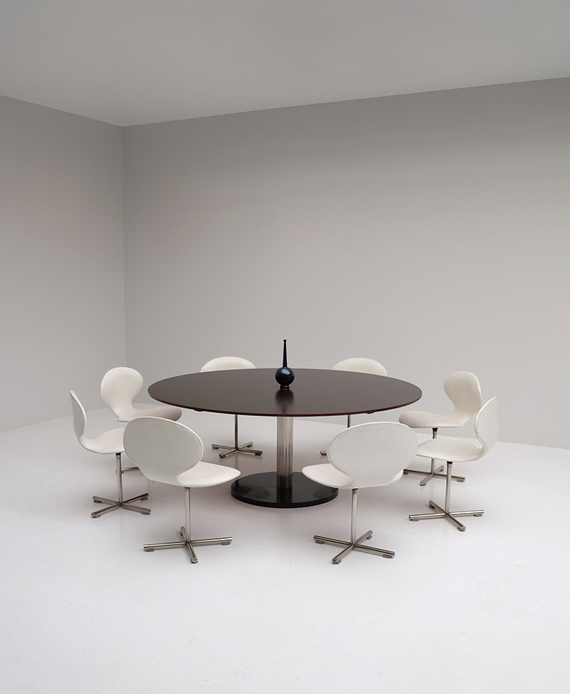 Alfred Hendrickx dining / conference table and swivel chairs