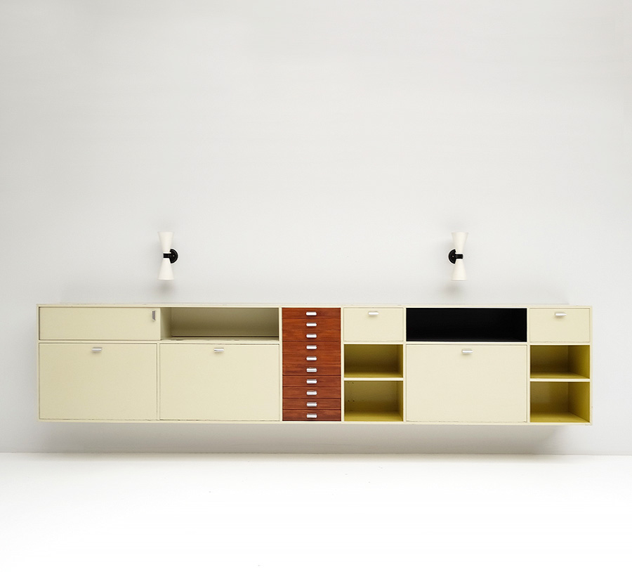 Exclusive architectural 1950's wall hung cabinet