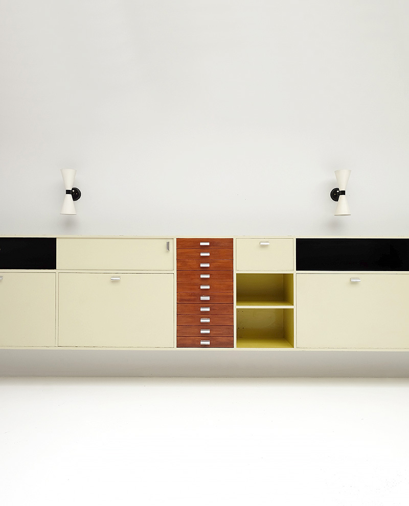 Exclusive architectural 1950´s wall hung cabinet