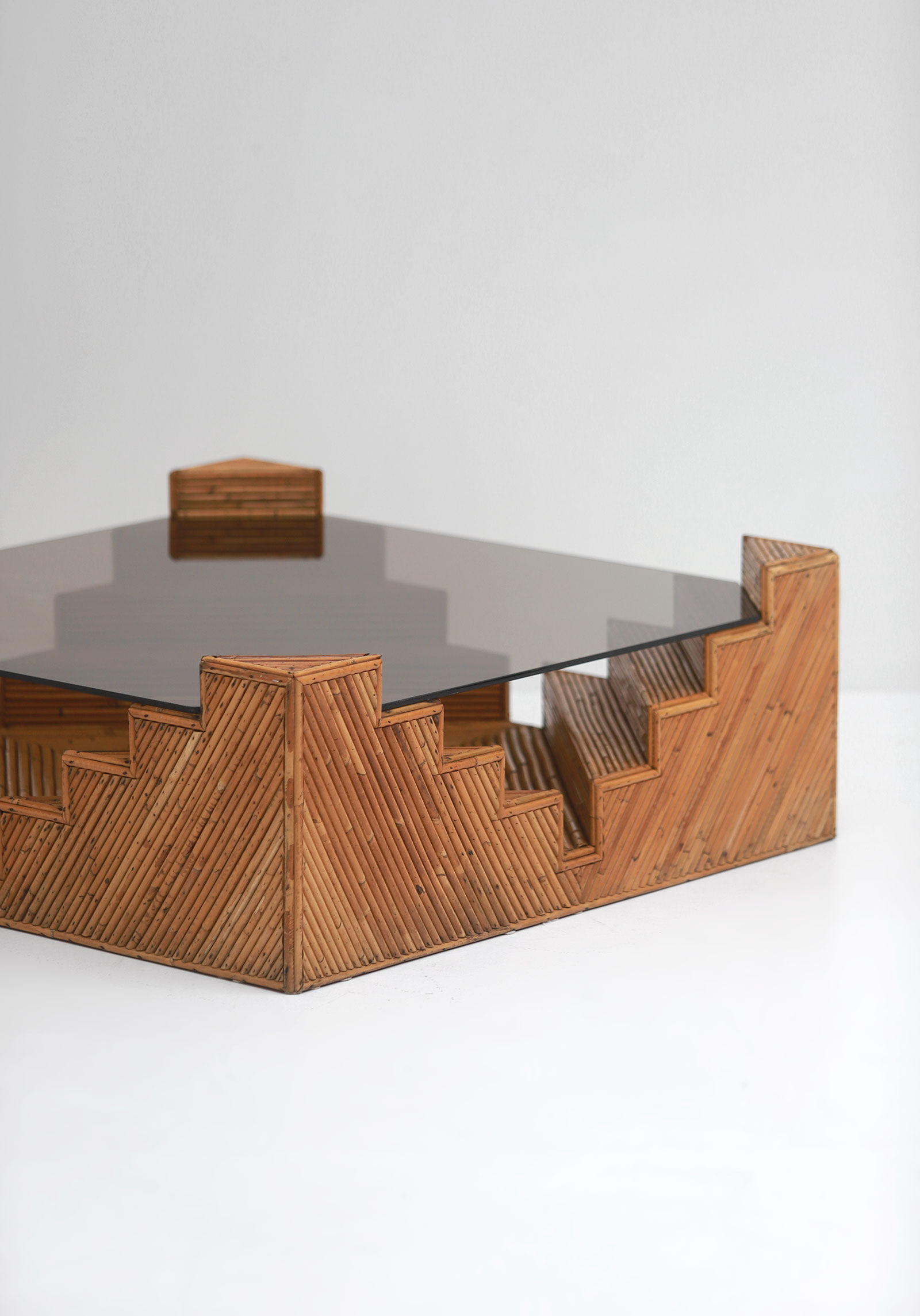 Decorative bamboo coffee table 1970image 6