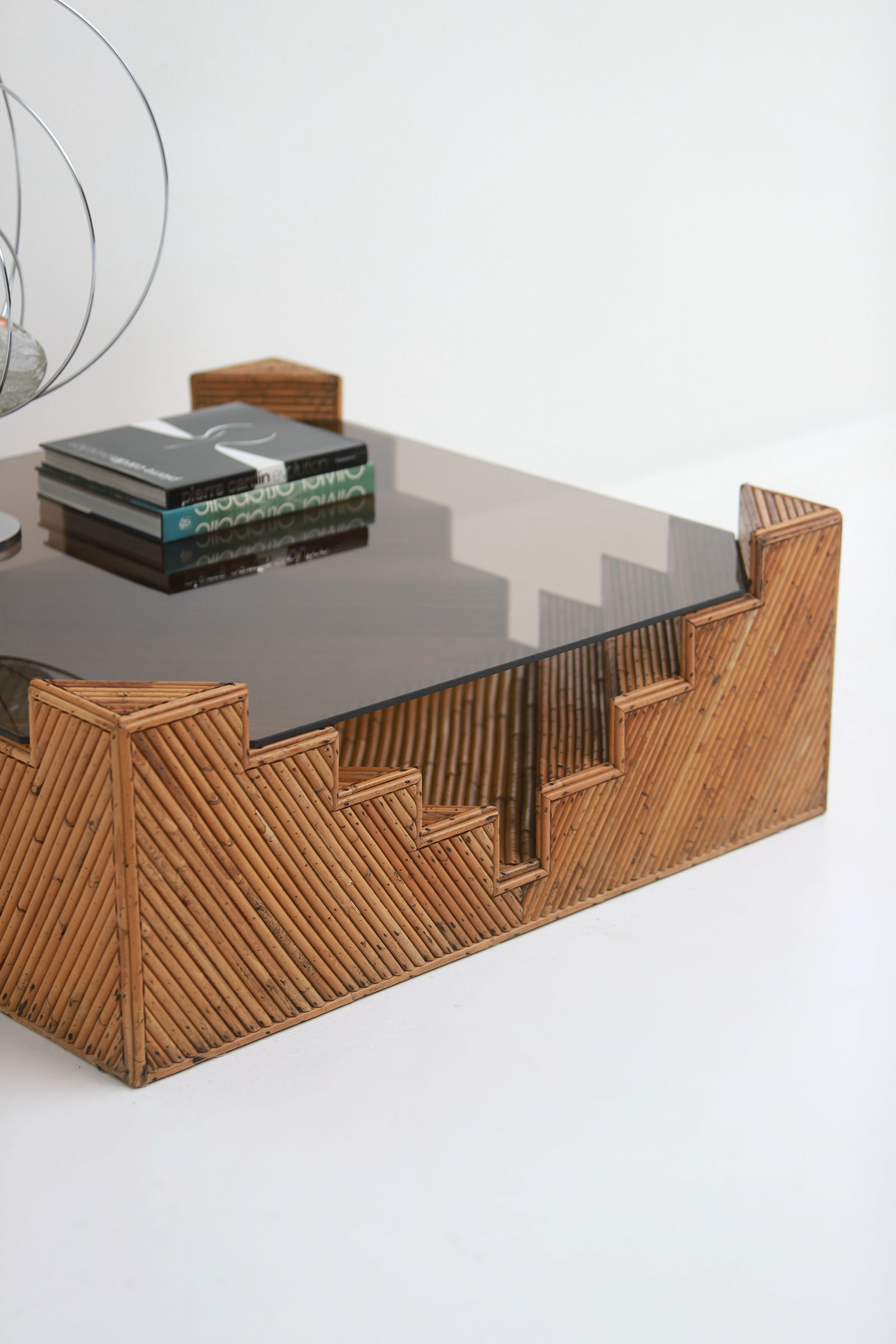 Decorative bamboo coffee table 1970image 4