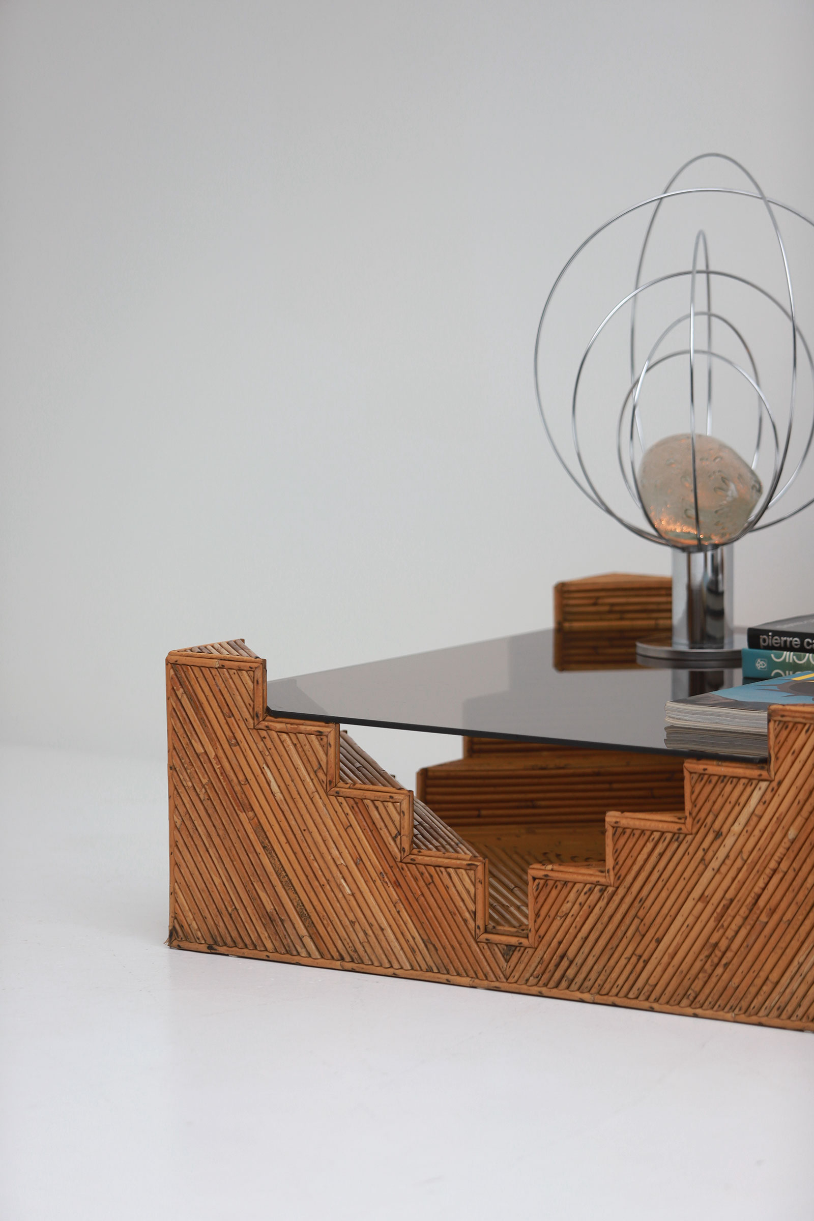 Decorative bamboo coffee table 1970image 3