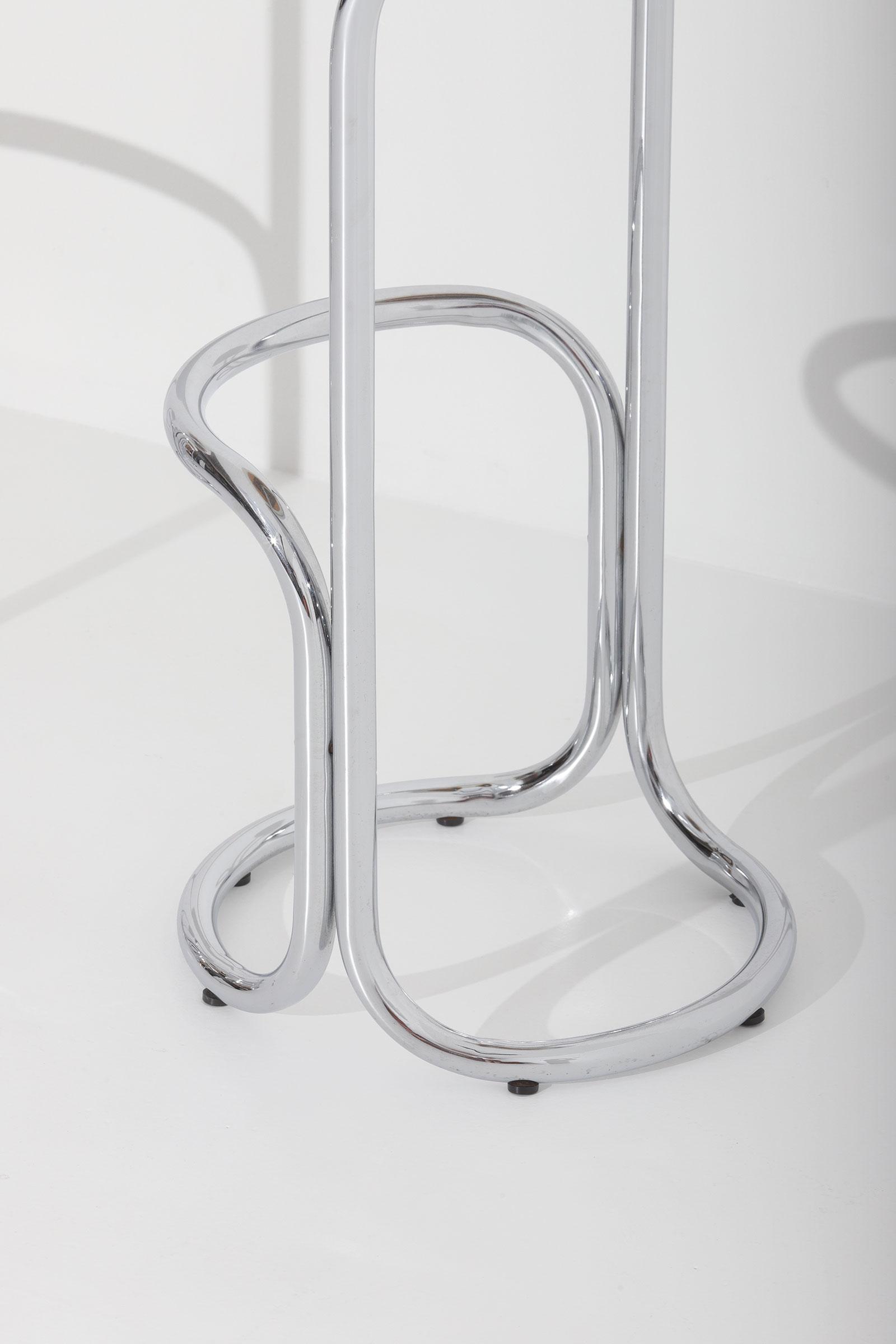 Chrome Bar Stools  With Plastic Fabric Seatsimage 5