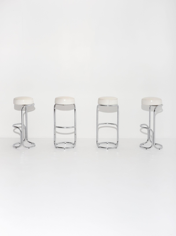 Chrome Bar Stools  With Plastic Fabric Seatsimage 10