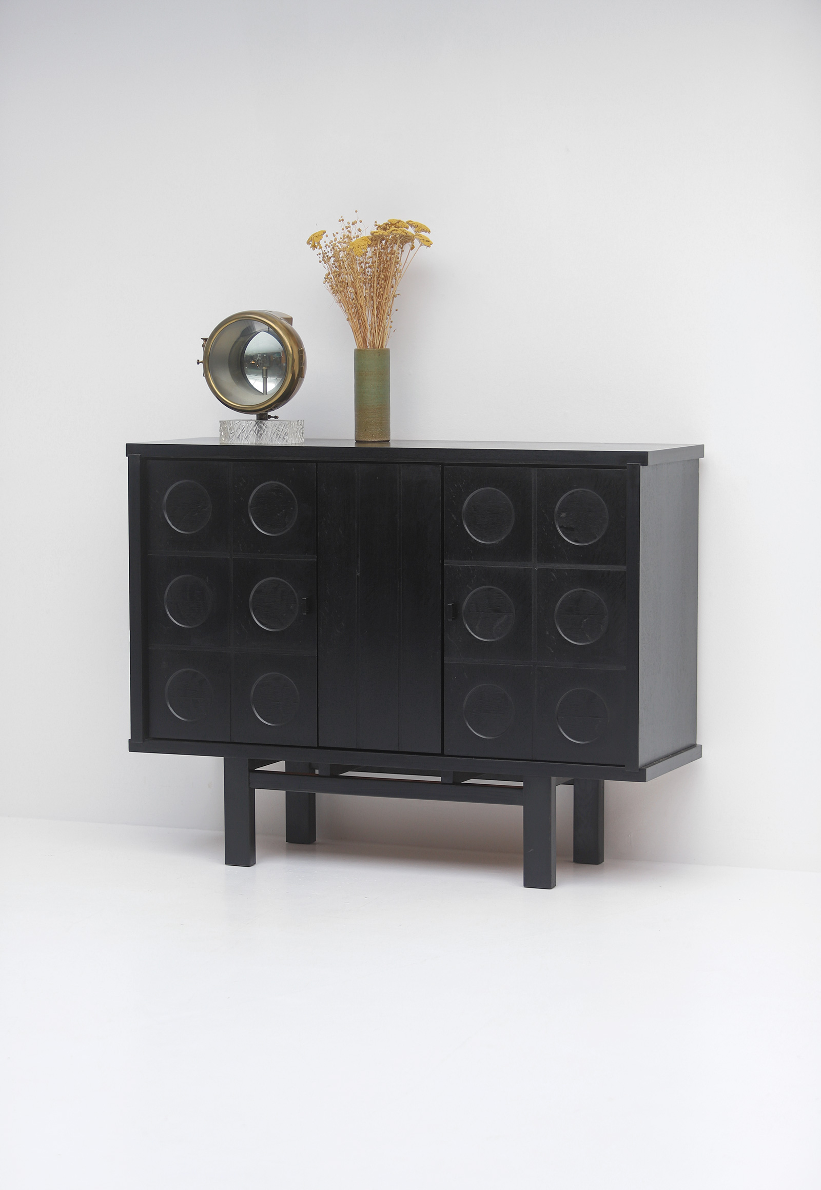 Decorative Black Cabinet with Patterned doors image 6
