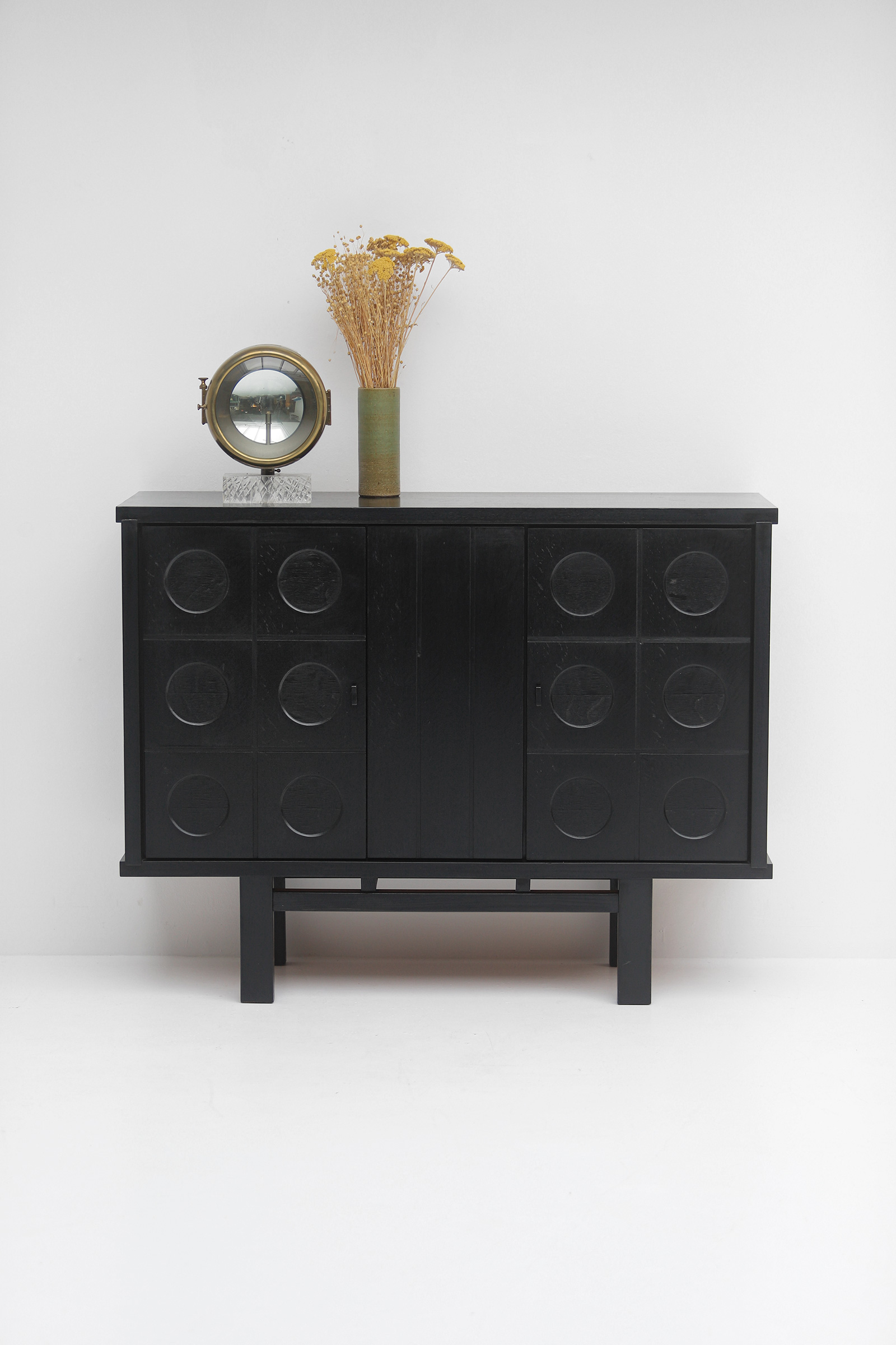 Decorative Black Cabinet with Patterned doors image 1