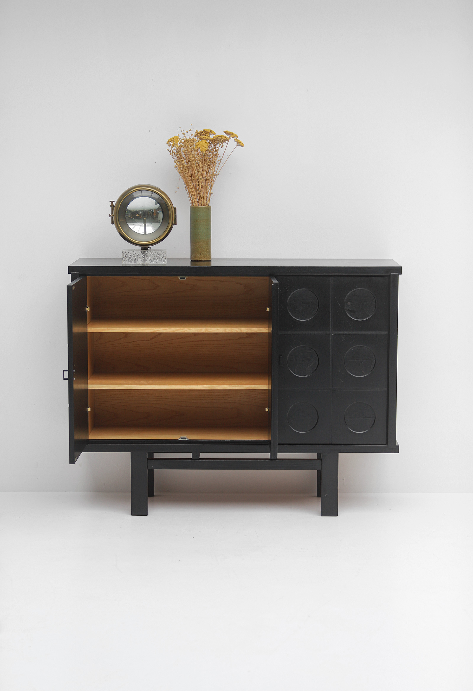 Decorative Black Cabinet with Patterned doors image 4