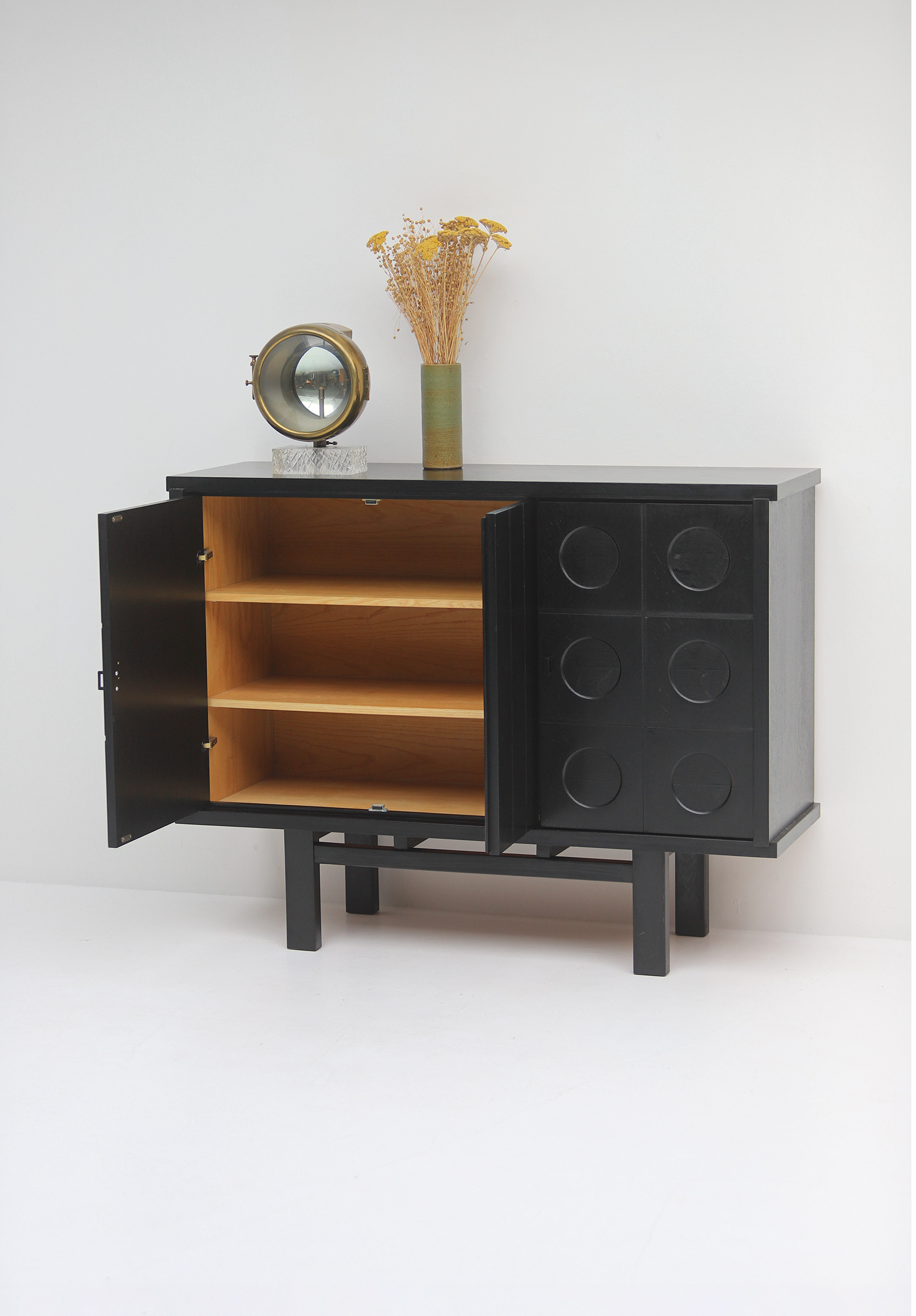 Decorative Black Cabinet with Patterned doors image 5