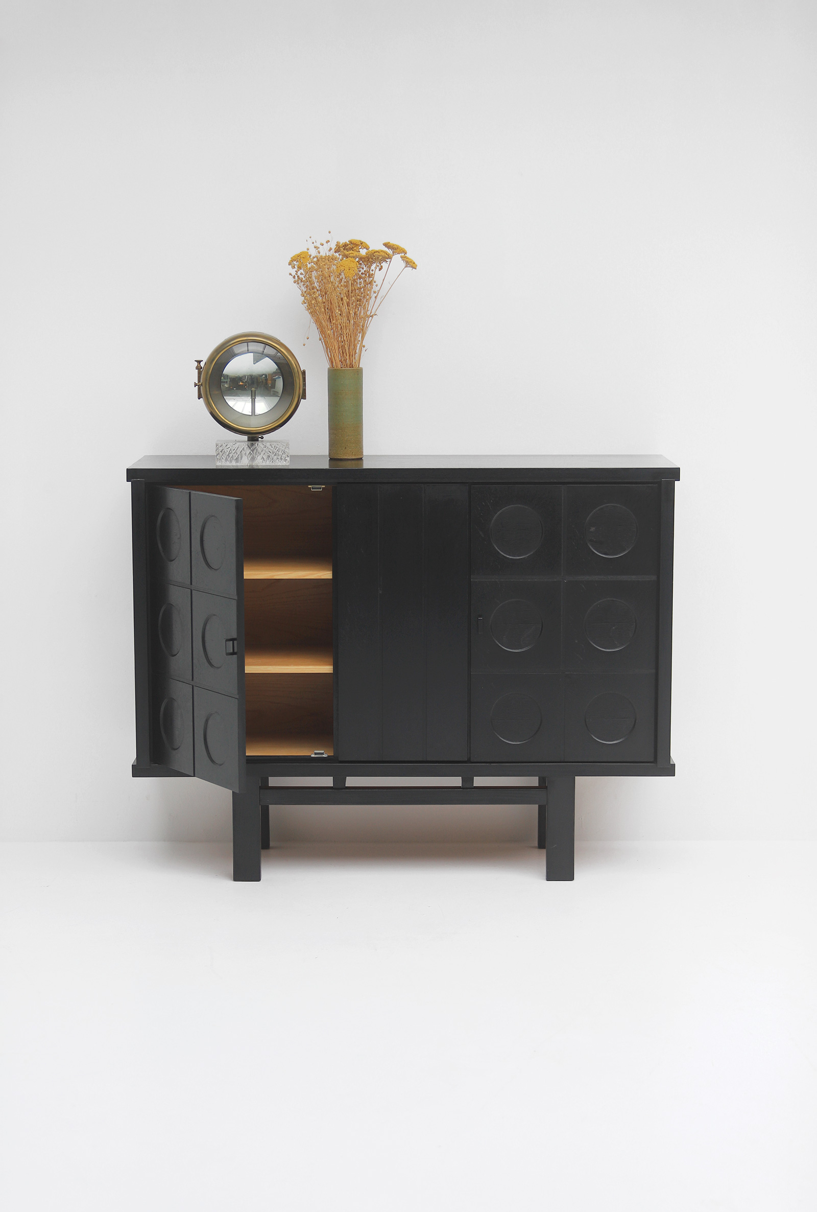 Decorative Black Cabinet with Patterned doors image 2