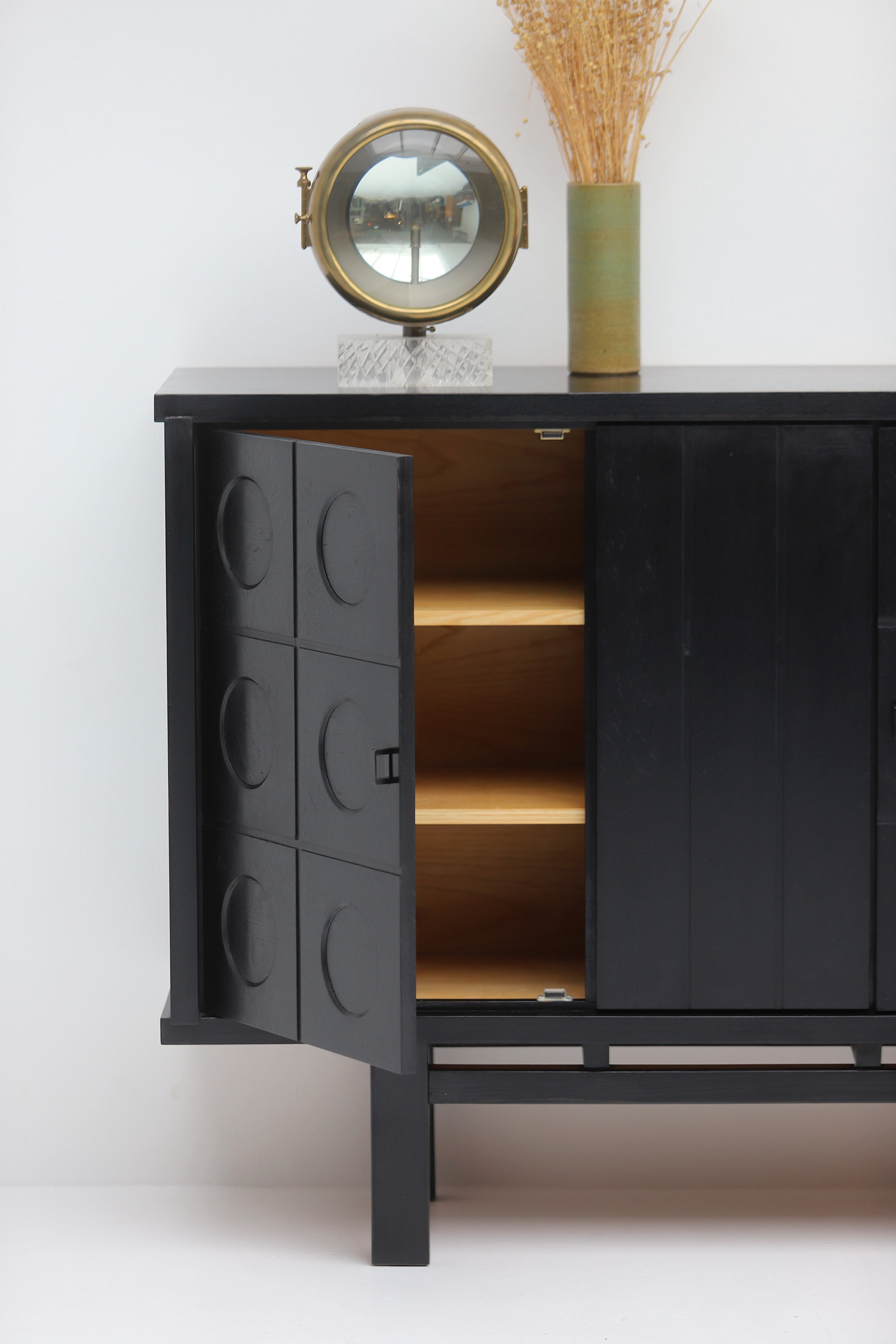 Decorative Black Cabinet with Patterned doors image 3