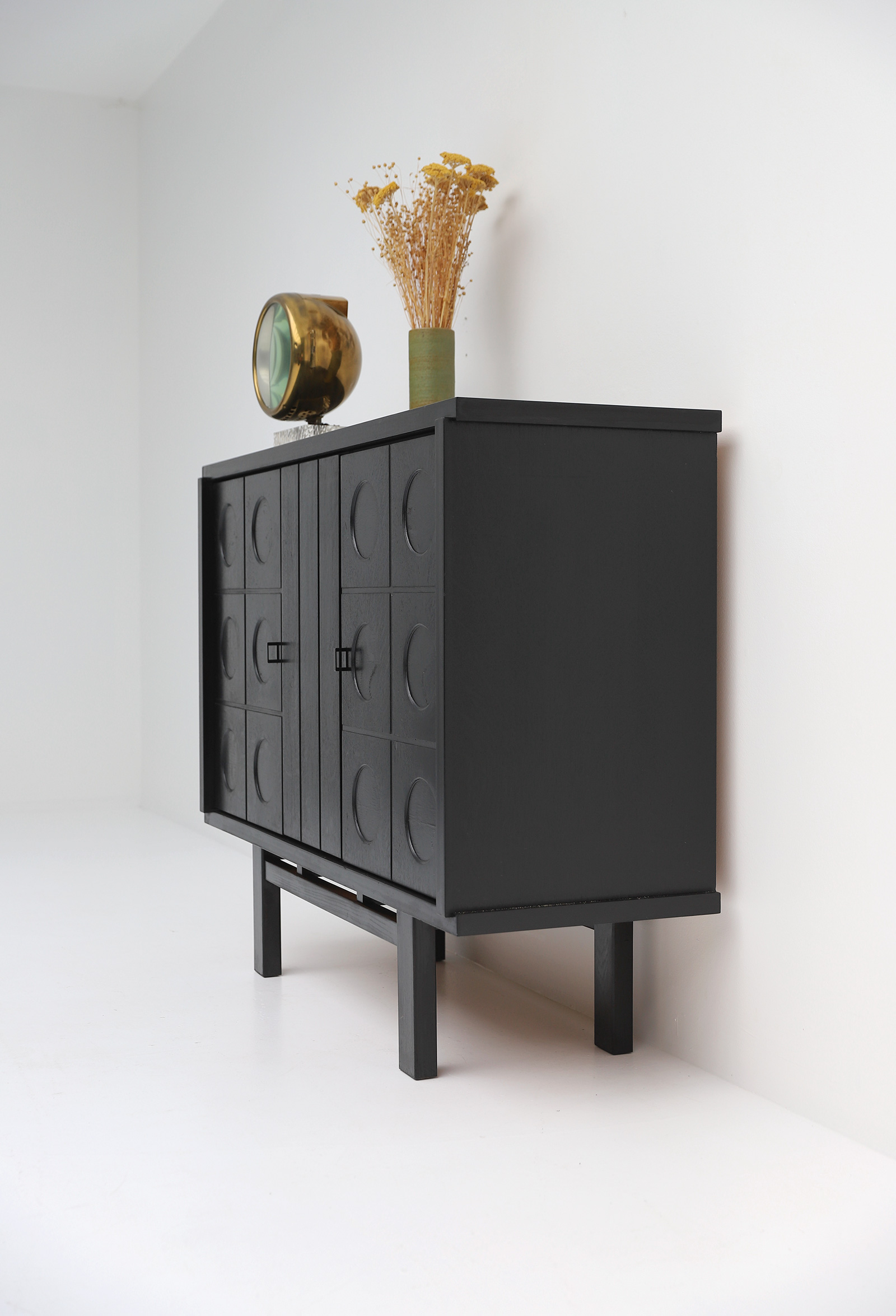 Decorative Black Cabinet with Patterned doors image 8