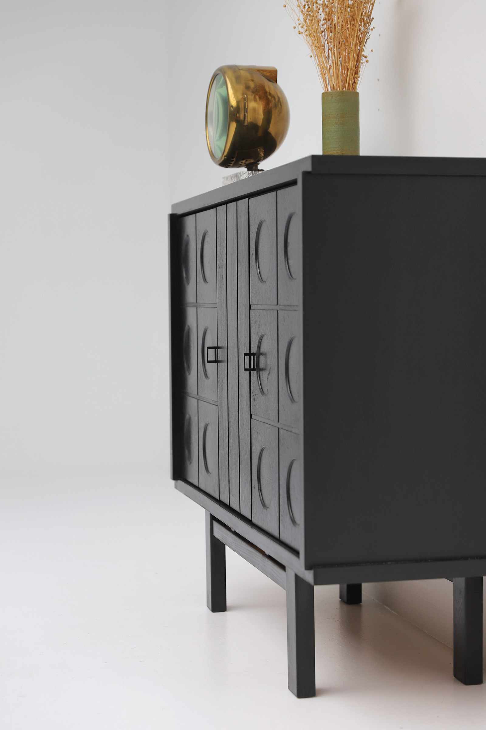Decorative Black Cabinet with Patterned doors image 9