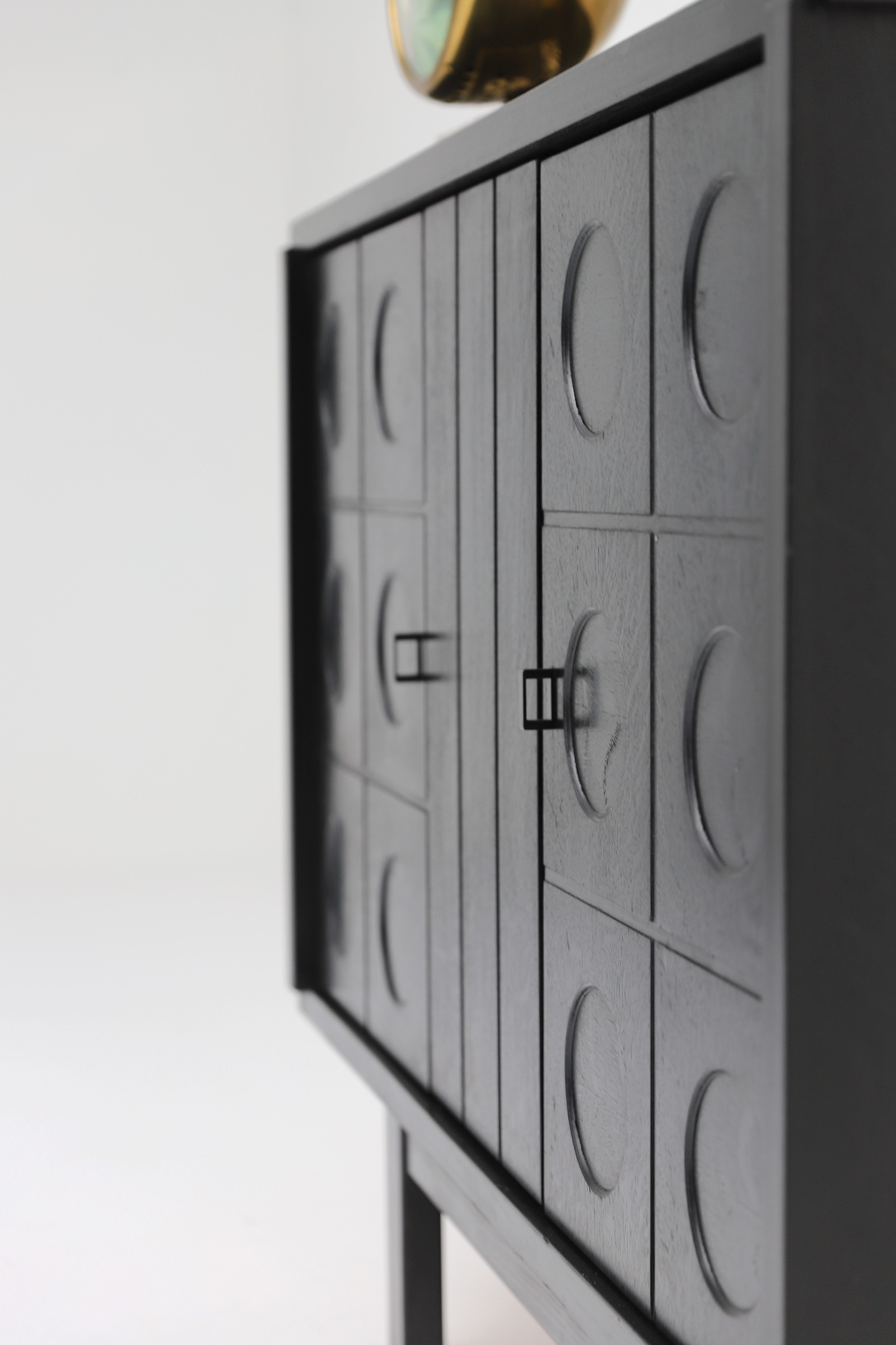 Decorative Black Cabinet with Patterned doors image 10