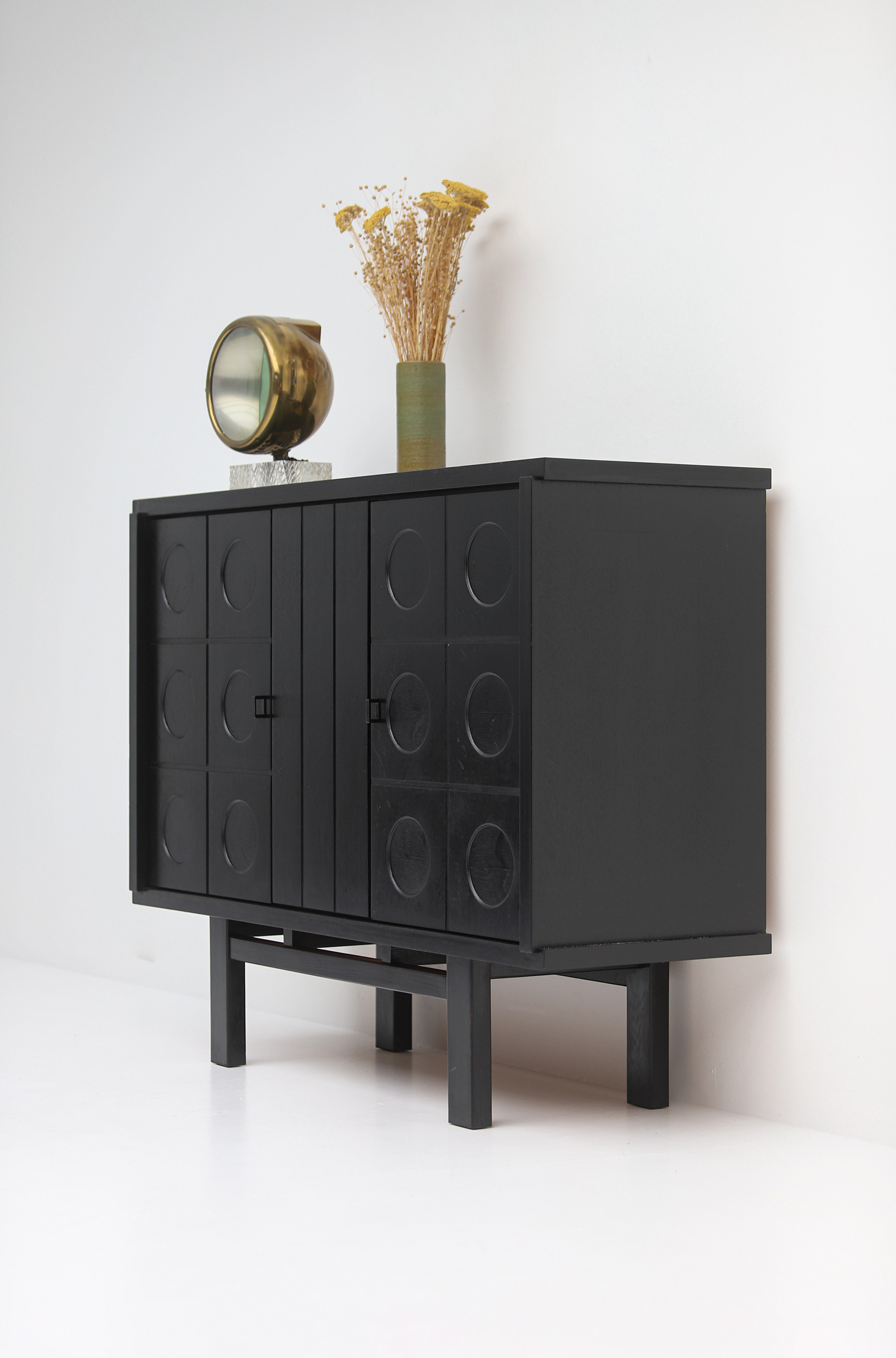 Decorative Black Cabinet with Patterned doors image 7