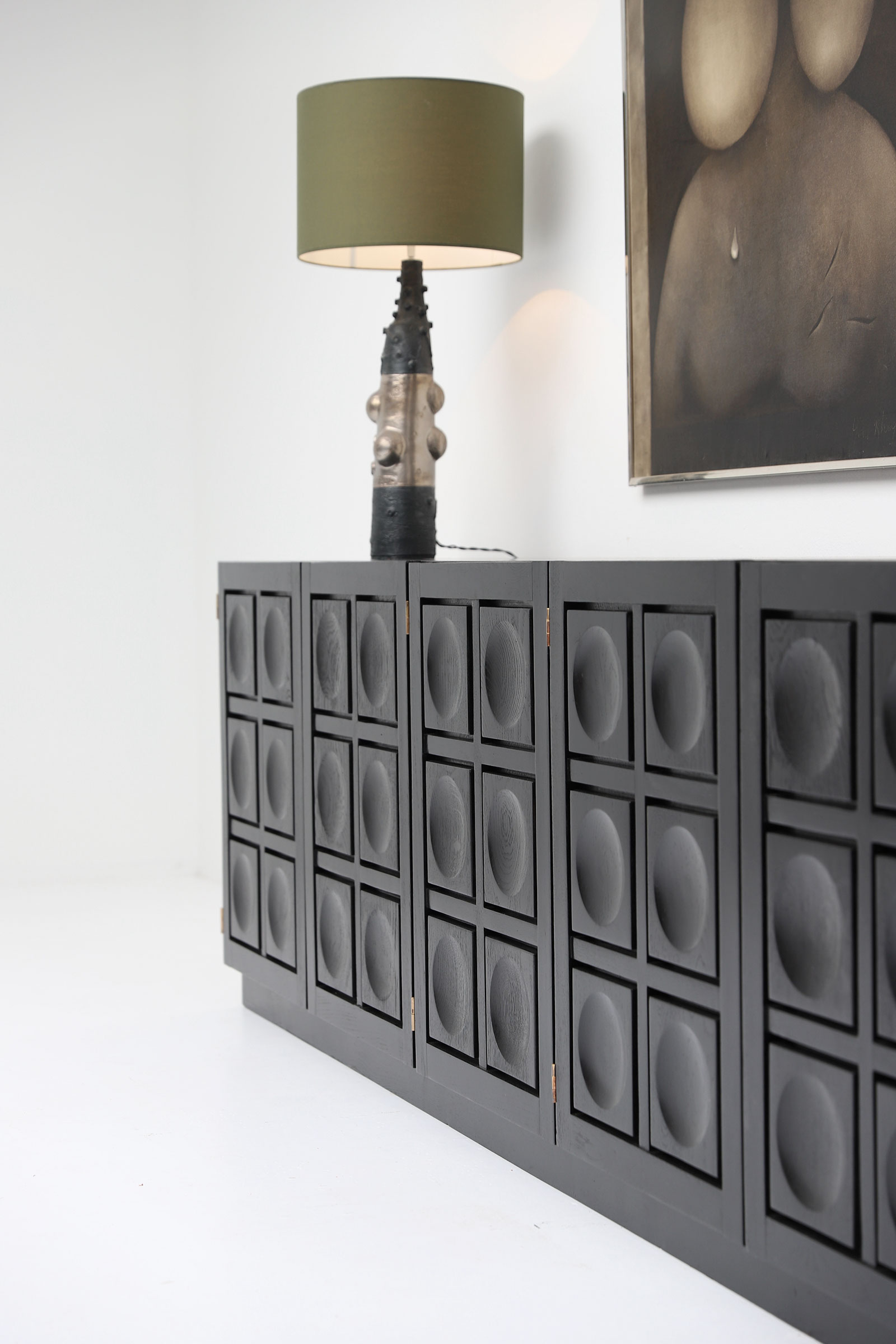 Brutalist Credenza in Black Stained Oak 1970s