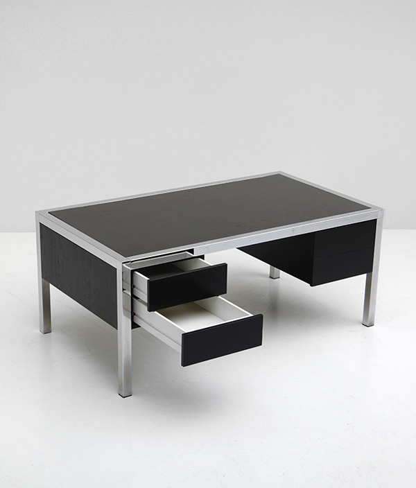 1970s Black ebonized wood and chrome desk