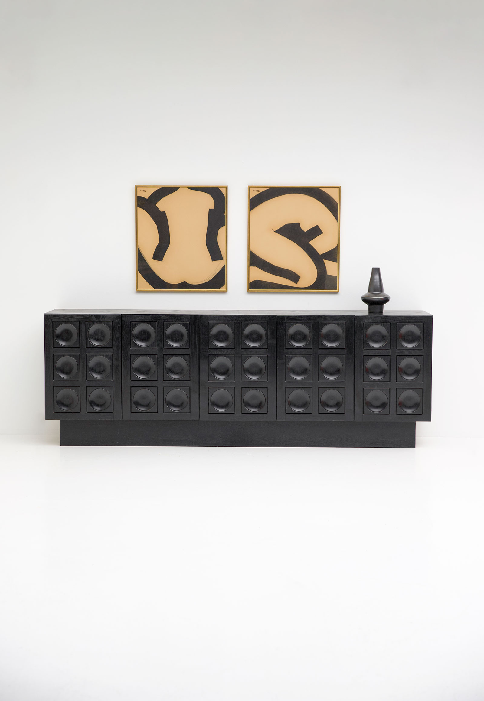 Black Brutalist Ebonised Sideboard image 3