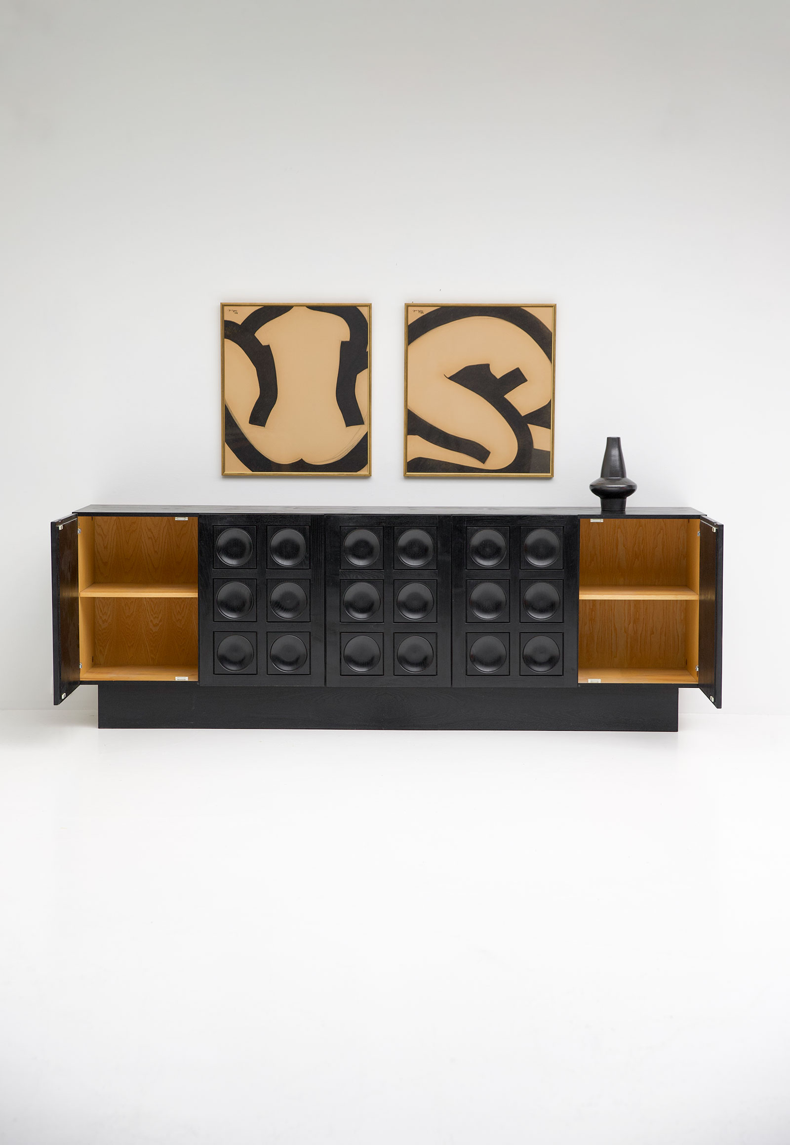Black Brutalist Ebonised Sideboard image 4