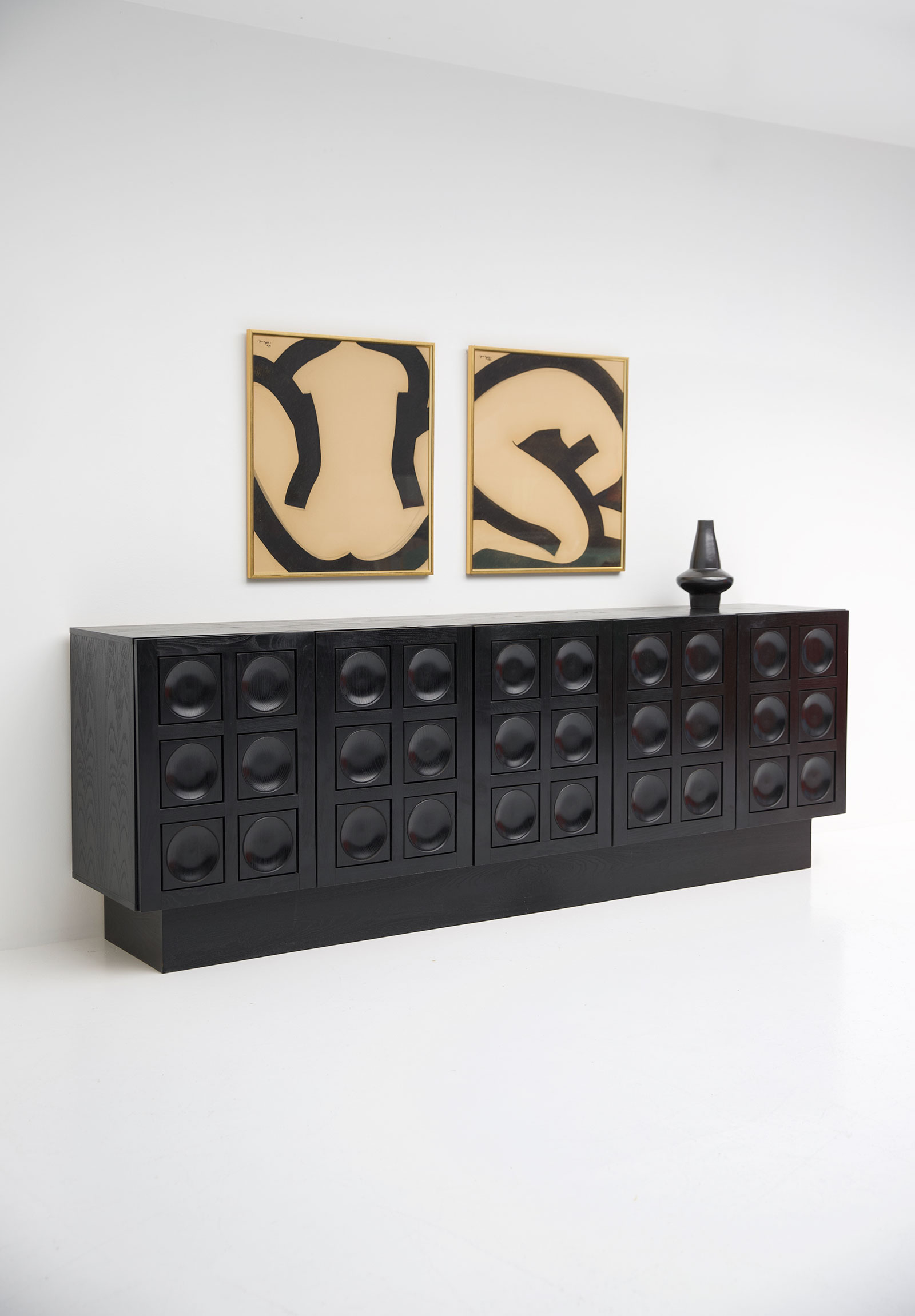 Black Brutalist Ebonised Sideboard image 10