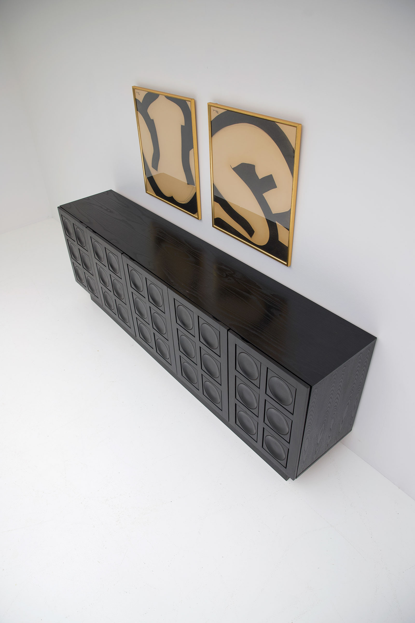 Black Brutalist Ebonised Sideboard image 15