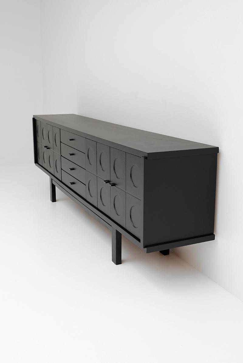 1970s Black Brutalist Sideboard