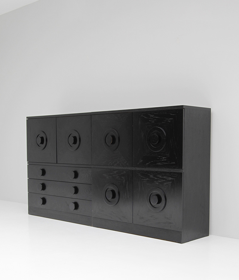 BLACK EBONIZED SIDEBOARDS WITH GRAPHIC DOORS  image 1