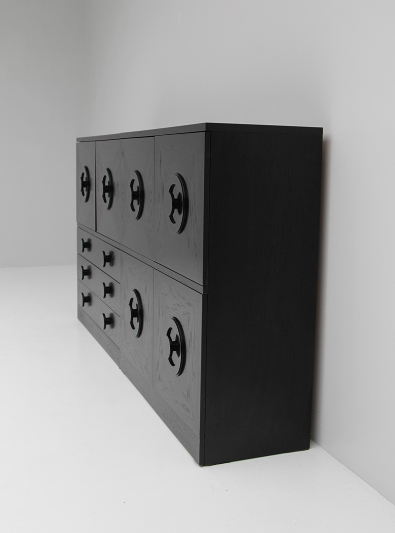 BLACK EBONIZED SIDEBOARDS WITH GRAPHIC DOORS  image 3