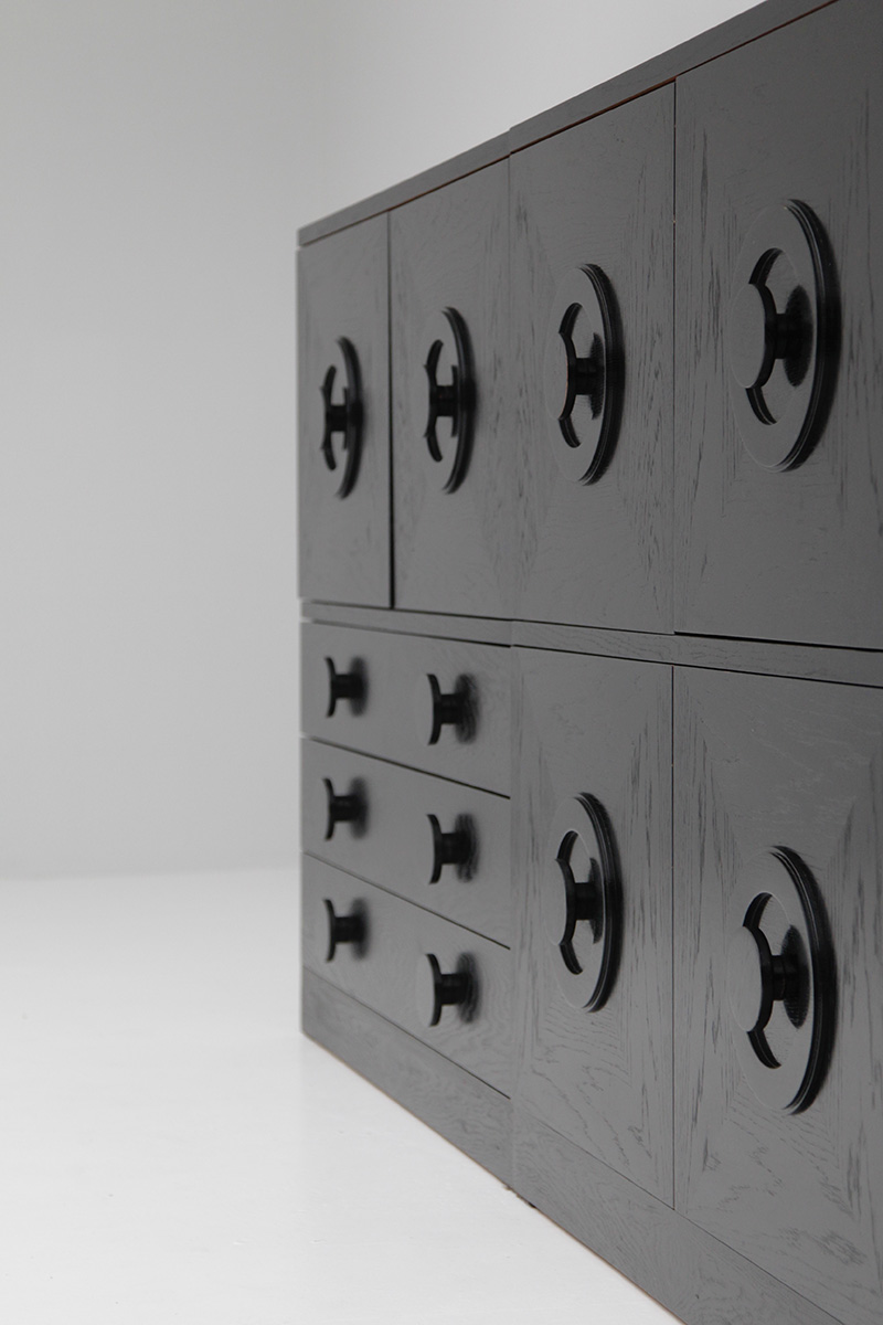BLACK EBONIZED SIDEBOARDS WITH GRAPHIC DOORS  image 4