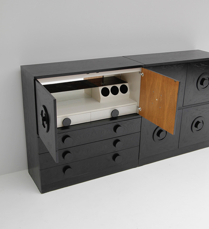 BLACK EBONIZED SIDEBOARDS WITH GRAPHIC DOORS  image 7