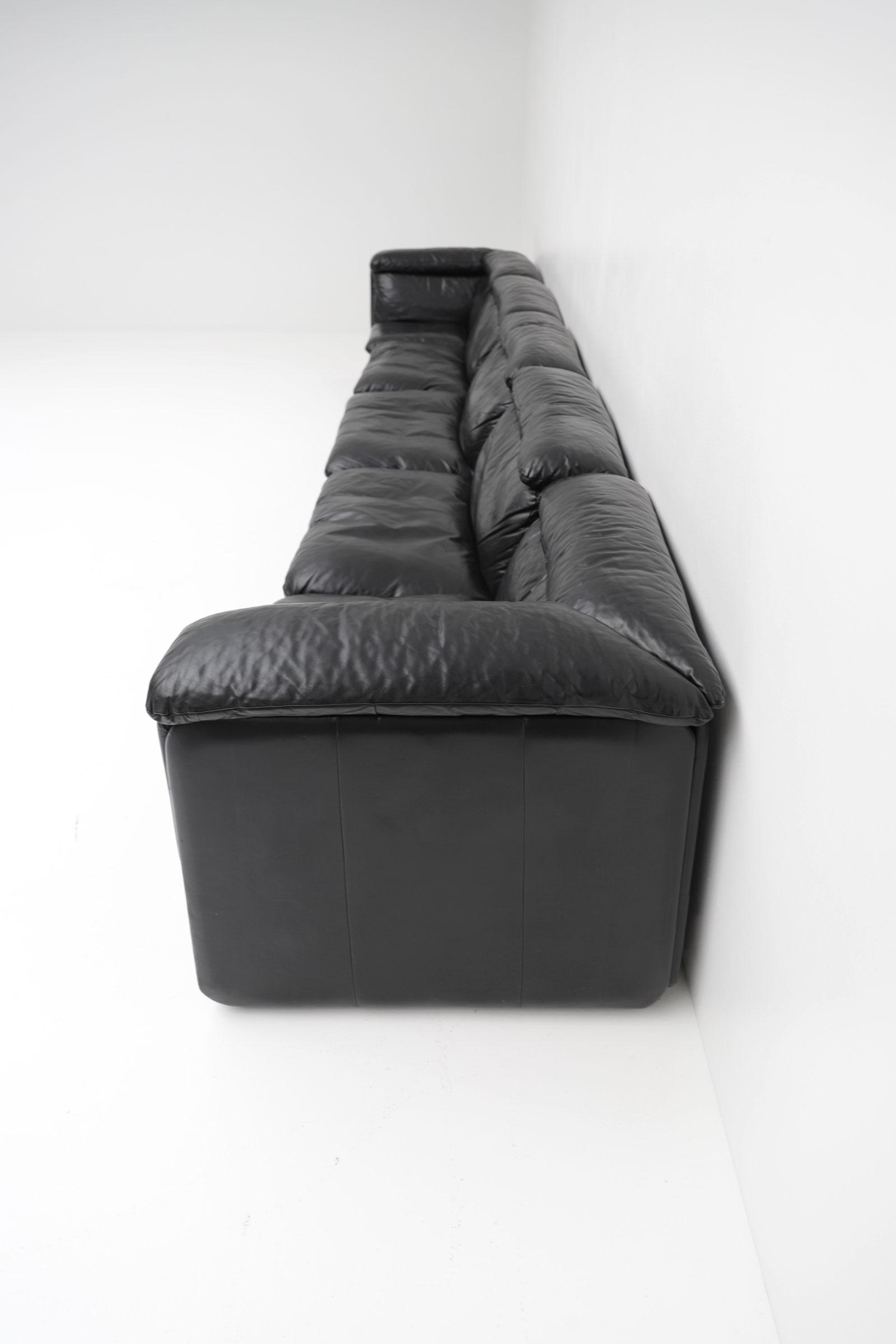 1970s Black Leather Sofa