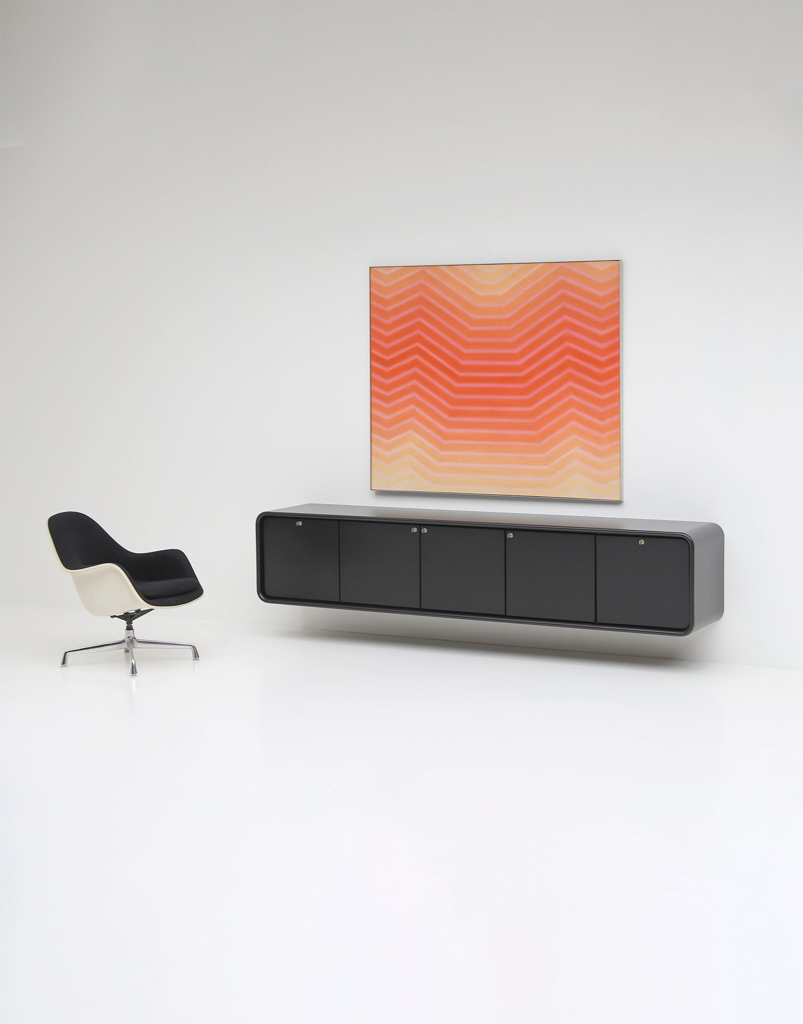 Black Minimalistic  Space Age Sideboard by Frank De Clercq