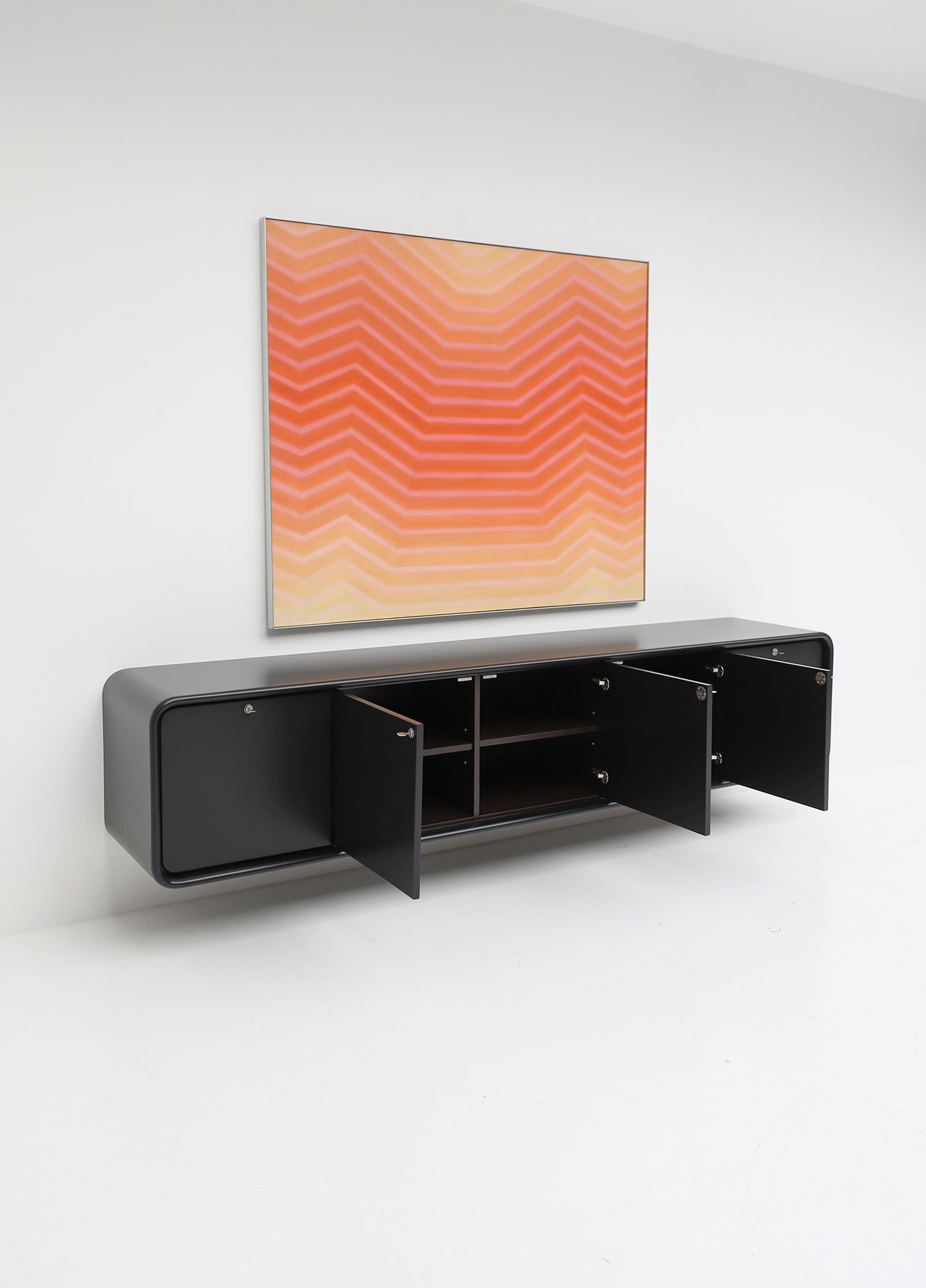 Black Minimalistic  Space Age Sideboard by Frank De Clercq
