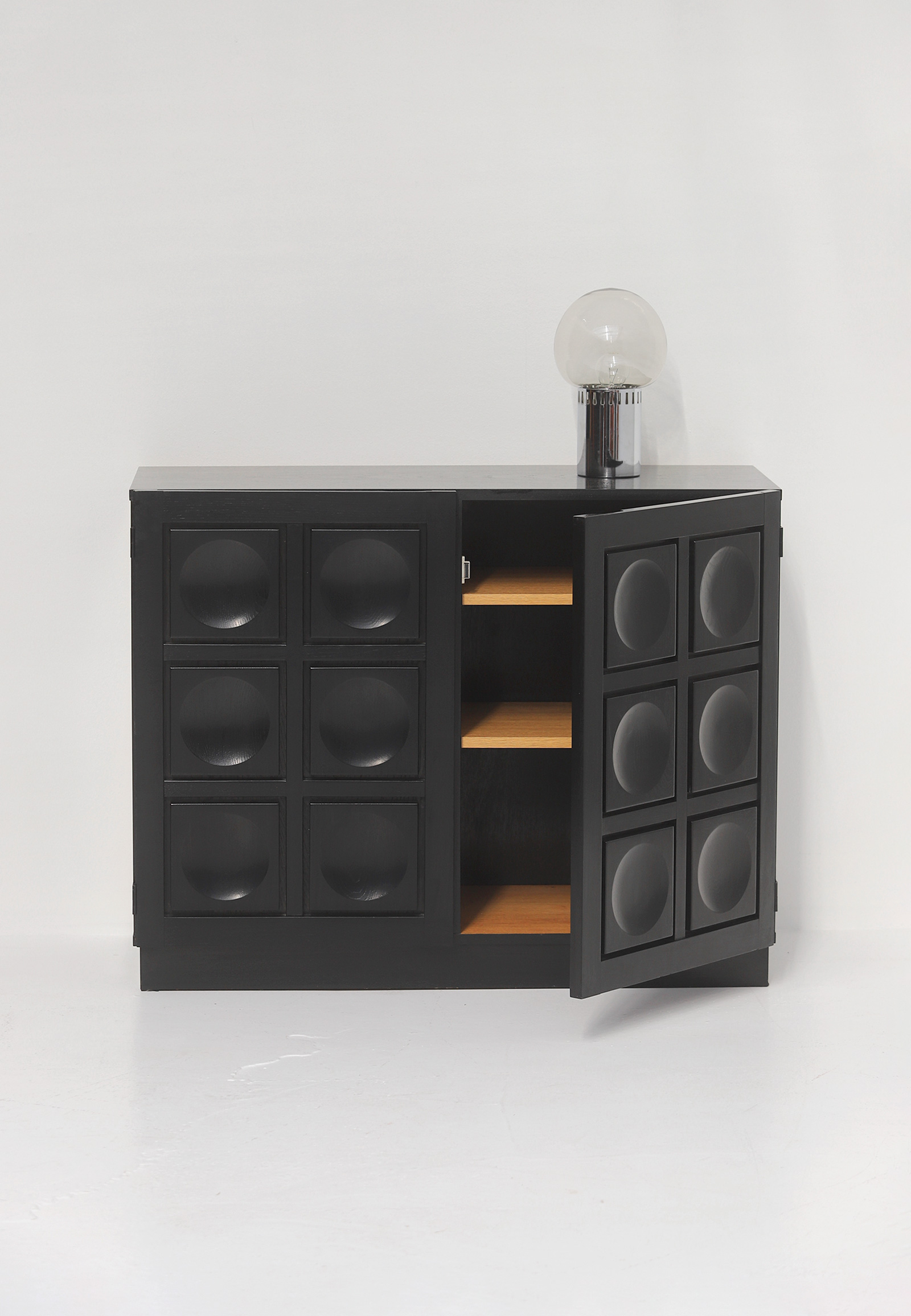 Black Stained Credenza with Geometric Doorsimage 7