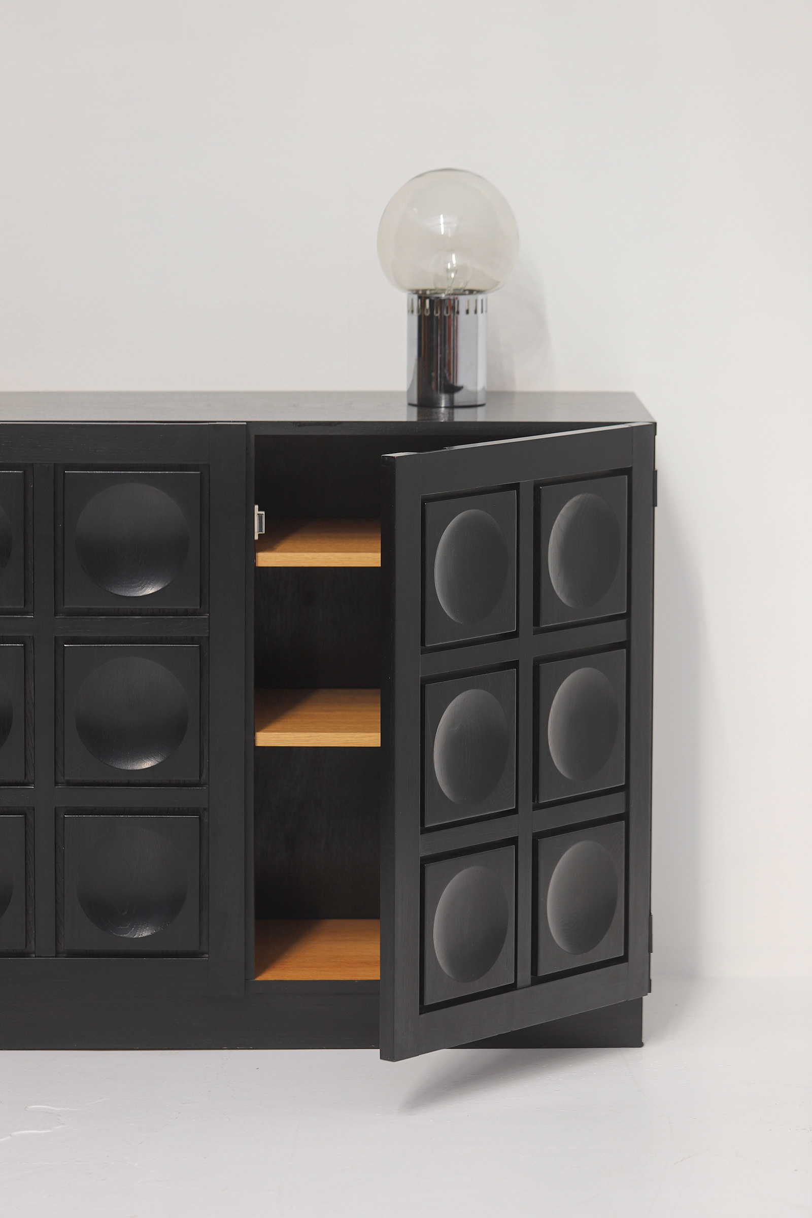 Black Stained Credenza with Geometric Doorsimage 8