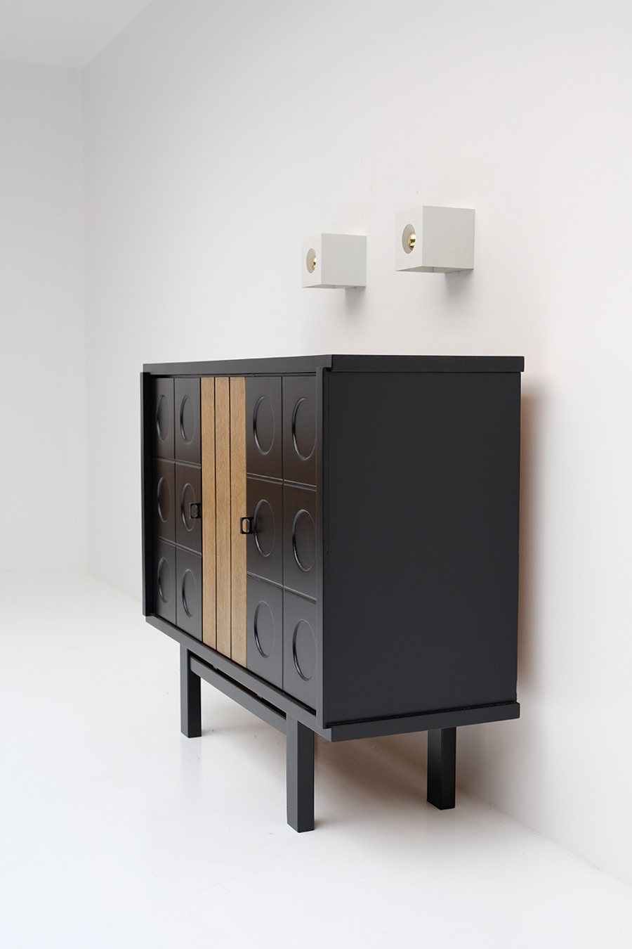 BLACK EBONIZED CABINET, BELGIAN MADE 1970S