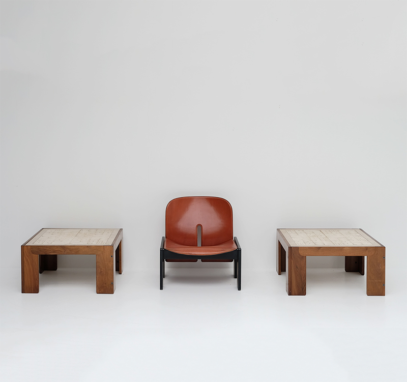 Travertin Topped Rosewood Framed Tables by Tobia Scarpa