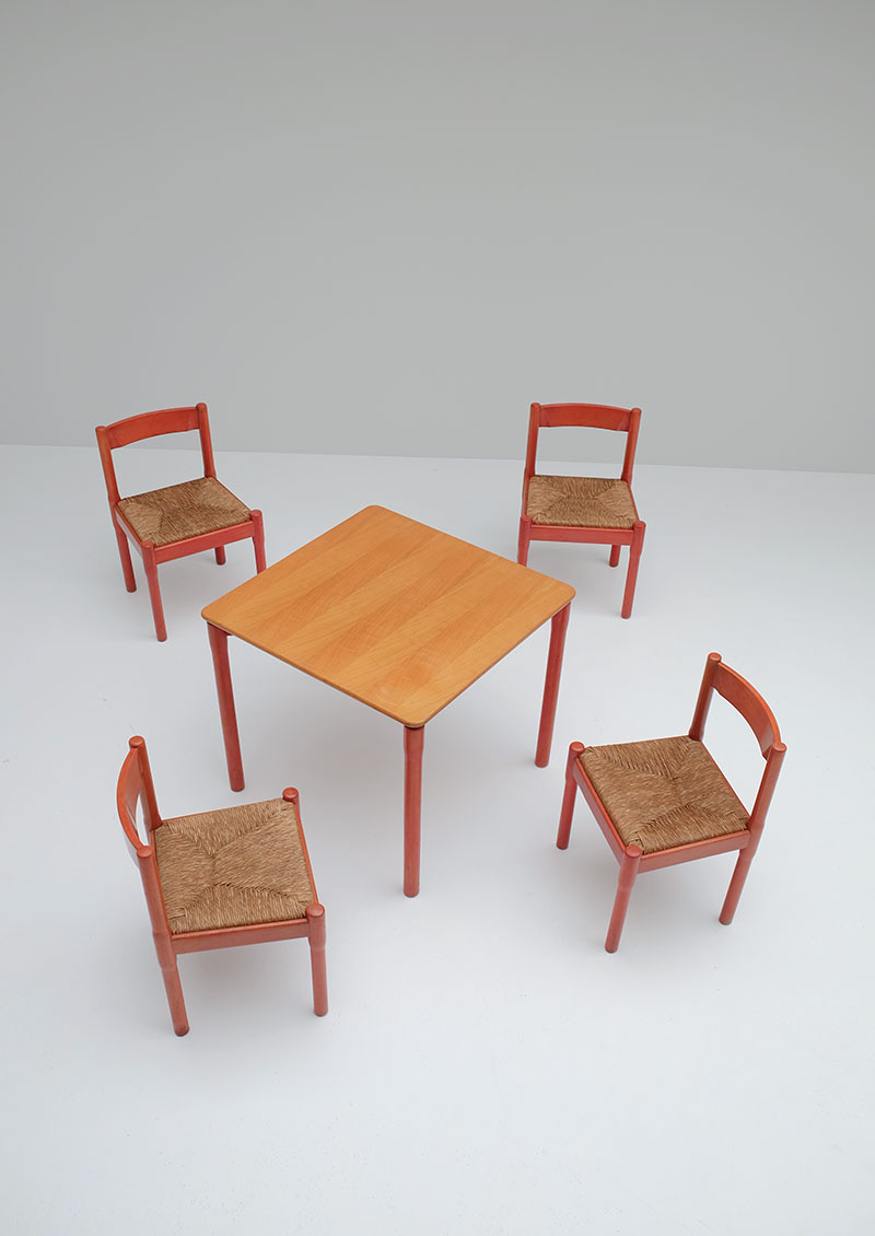 """Set of 4 Vico Magistretti for Cassina """"Carimate"""" Chairs and"""