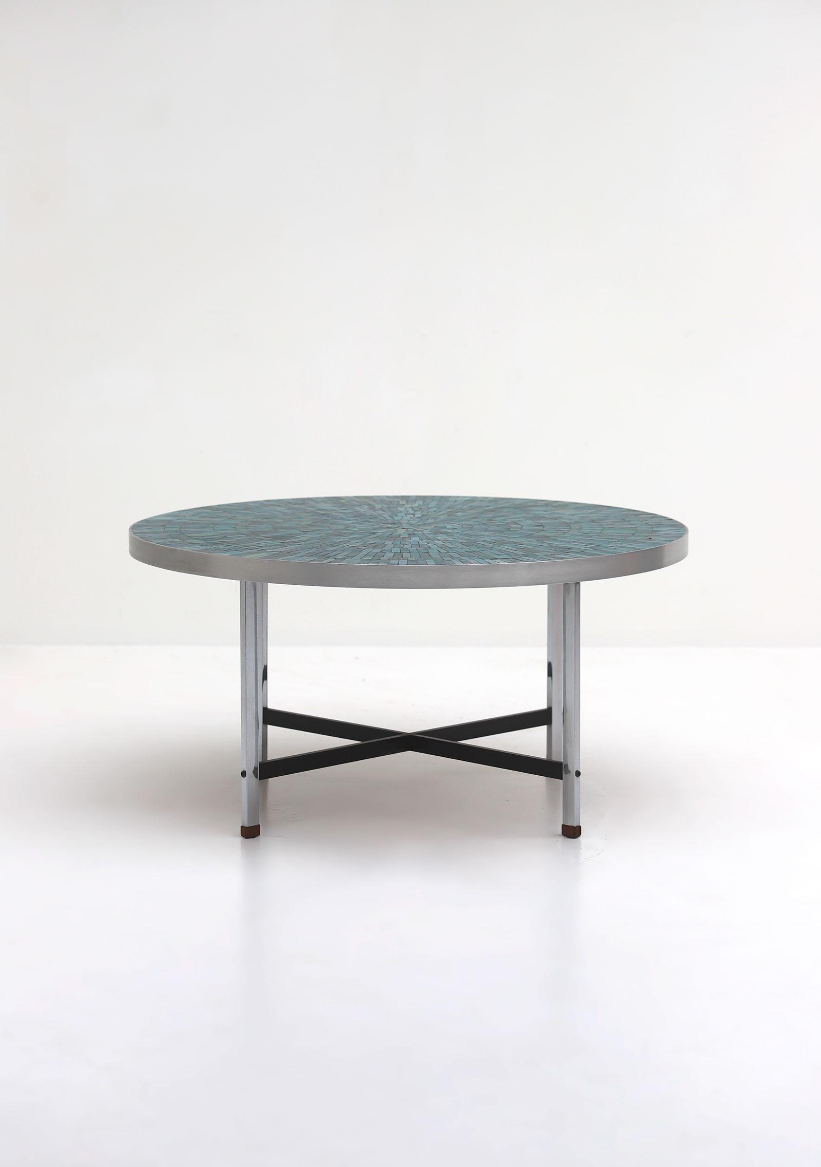 1960s Azure Round Ceramic Coffee Tableimage 1