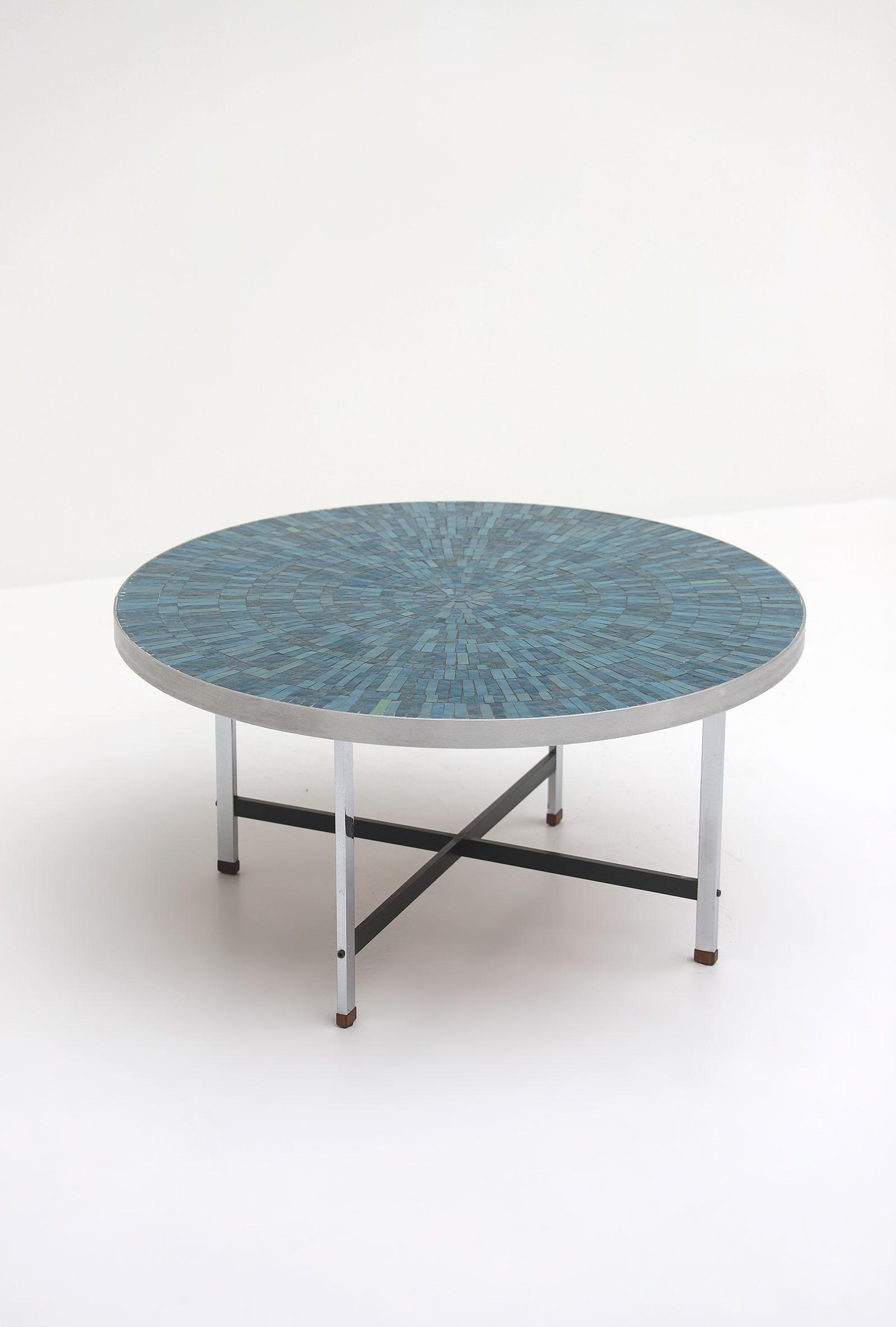 1960s Azure Round Ceramic Coffee Tableimage 3