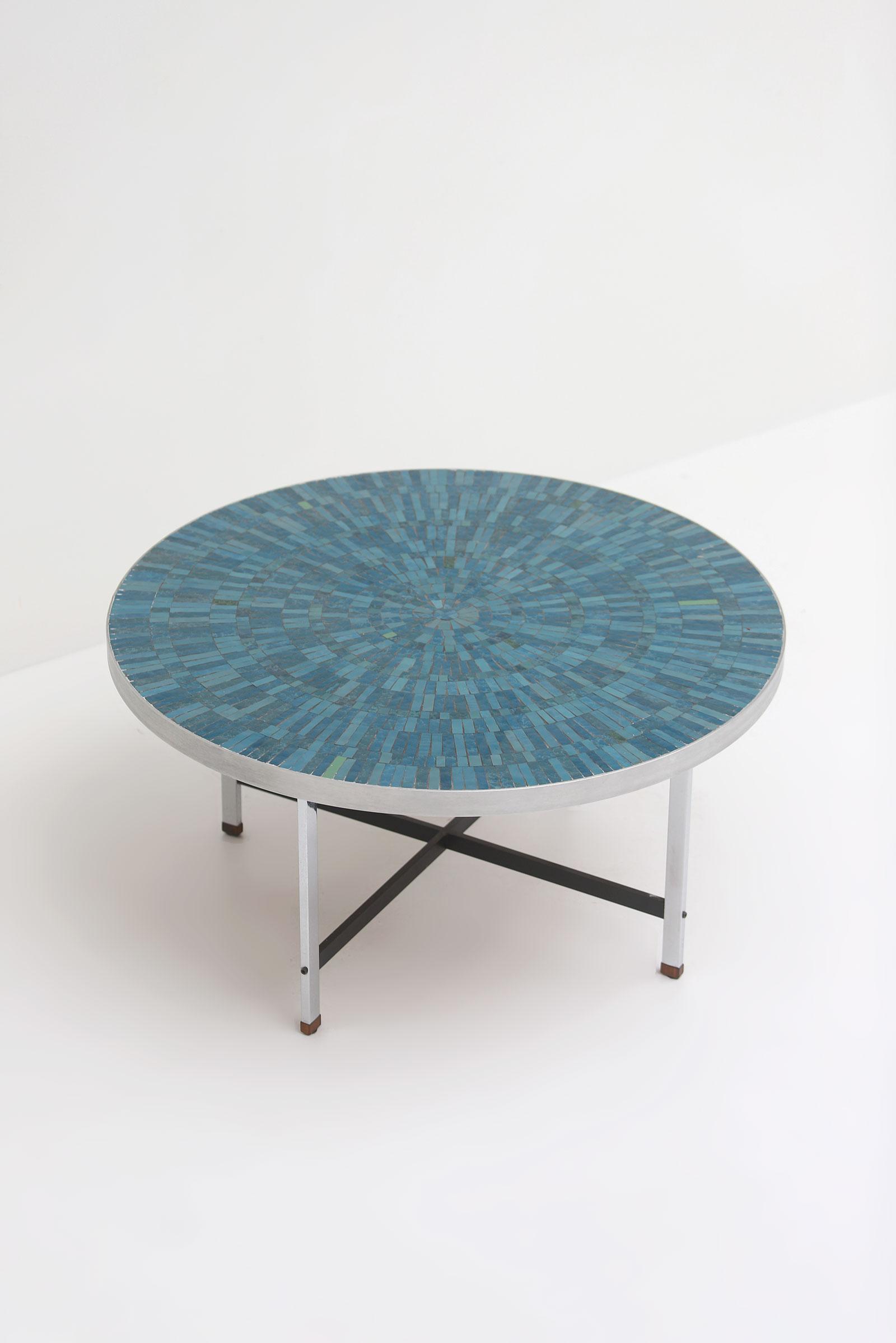 1960s Azure Round Ceramic Coffee Tableimage 4