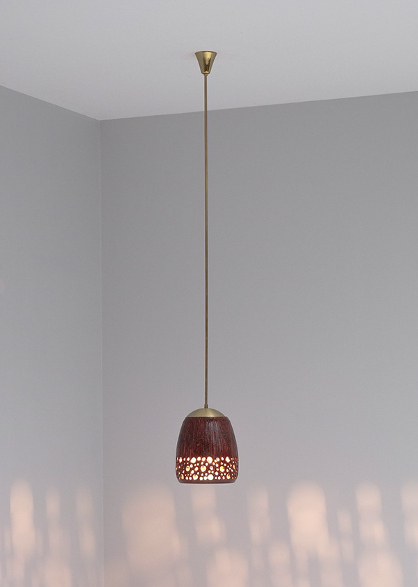 RED GLAZE CERAMIC HANGING LAMPimage 1