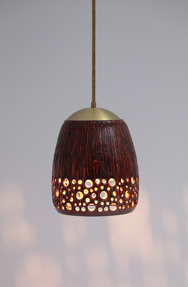 RED GLAZE CERAMIC HANGING LAMPimage 6