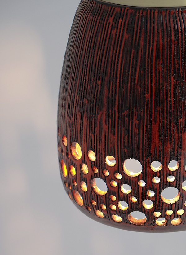 RED GLAZE CERAMIC HANGING LAMPimage 3